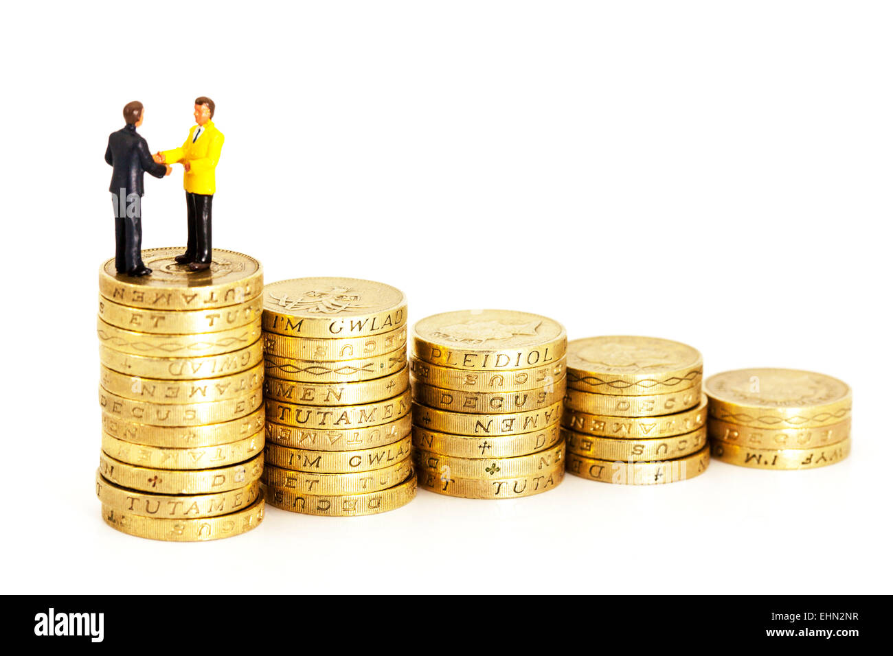 growth money uk currency inflation deflation business pound coins stacks descending isolated cut out cutout white - Stock Image