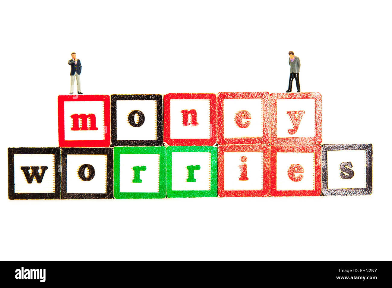 money worries worry about debt debts bankruptcy words isolated cut out cutout white background - Stock Image