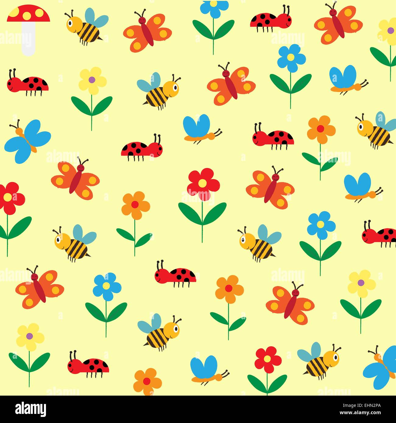 colorful and cute kids background with flowers bee and