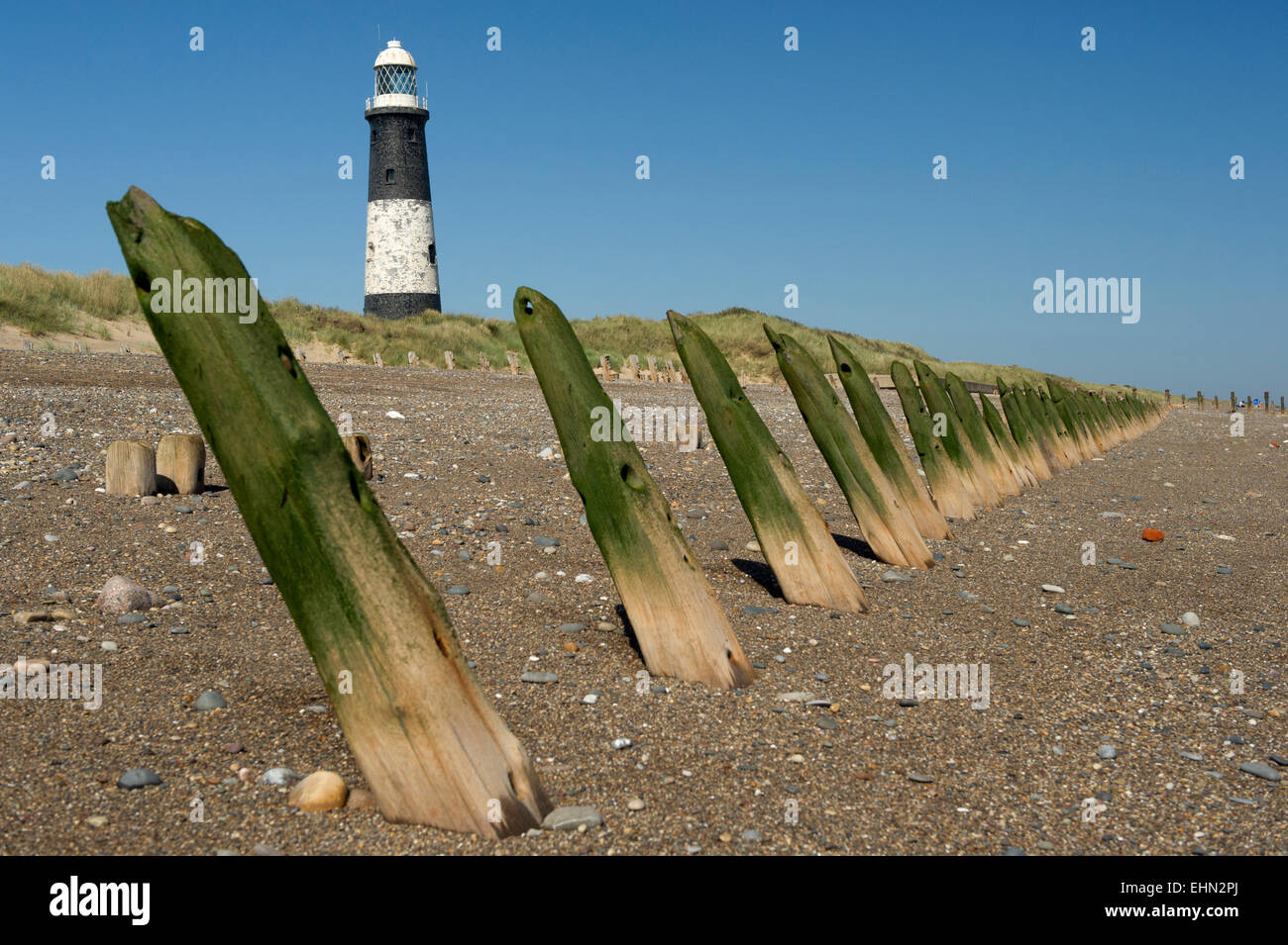 Wooden breakers, famous lighthouse on beach, Spurn Point, East Yorkshire, Kingston Upon Hull. England,UK - Stock Image