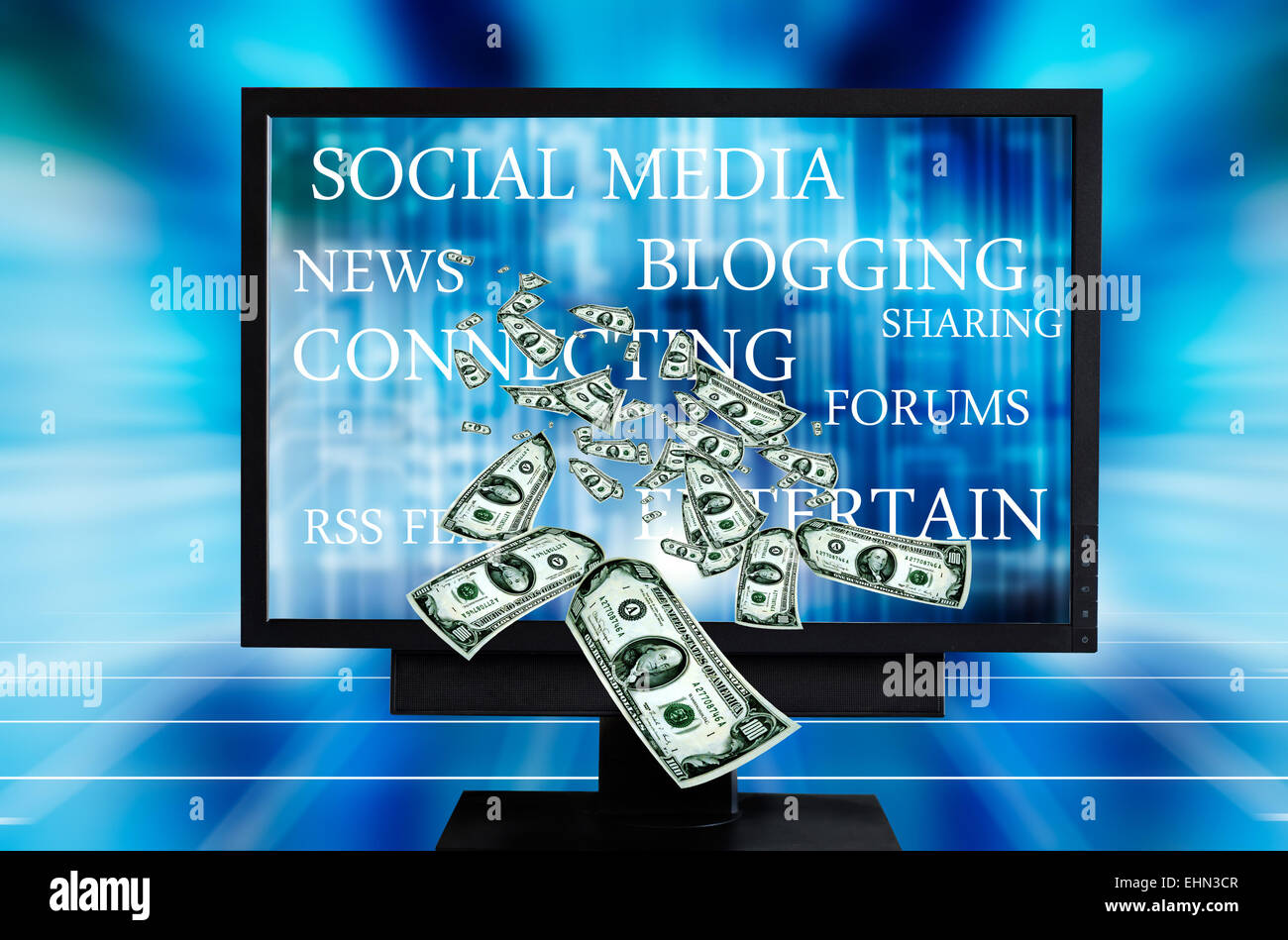 earning with social media concept - Stock Image