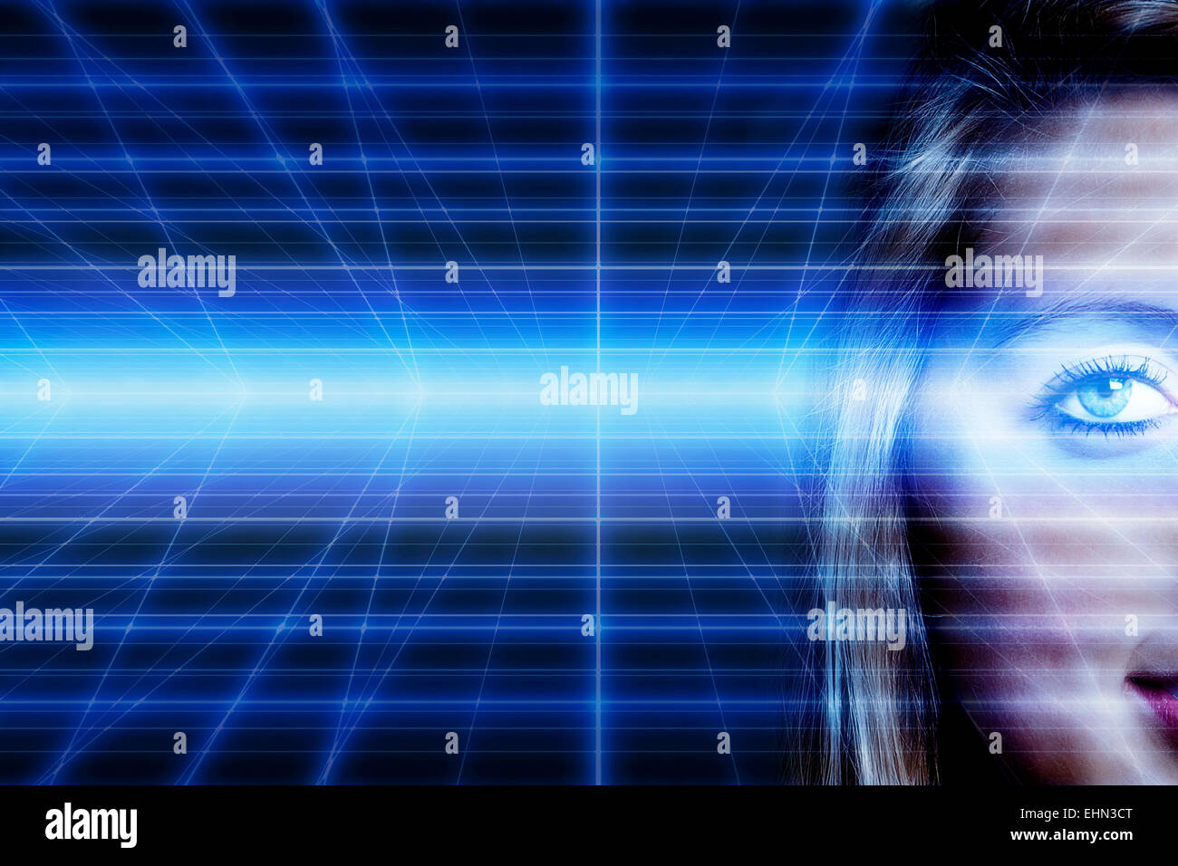 young woman half face against technology future background - Stock Image