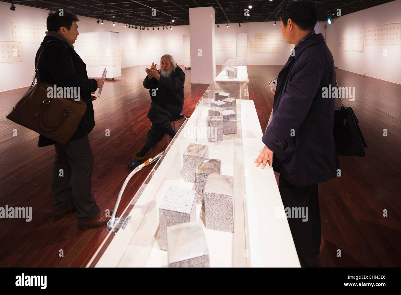 Asia, Republic of Korea, South Korea, Seoul, exhibition of a stone engraver - Stock Image