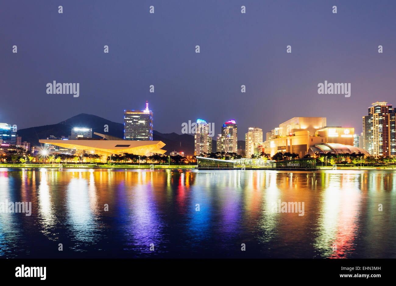 Asia, Republic of Korea, South Korea, Busan, Busan Cinema Center with cantilever roof - Stock Image
