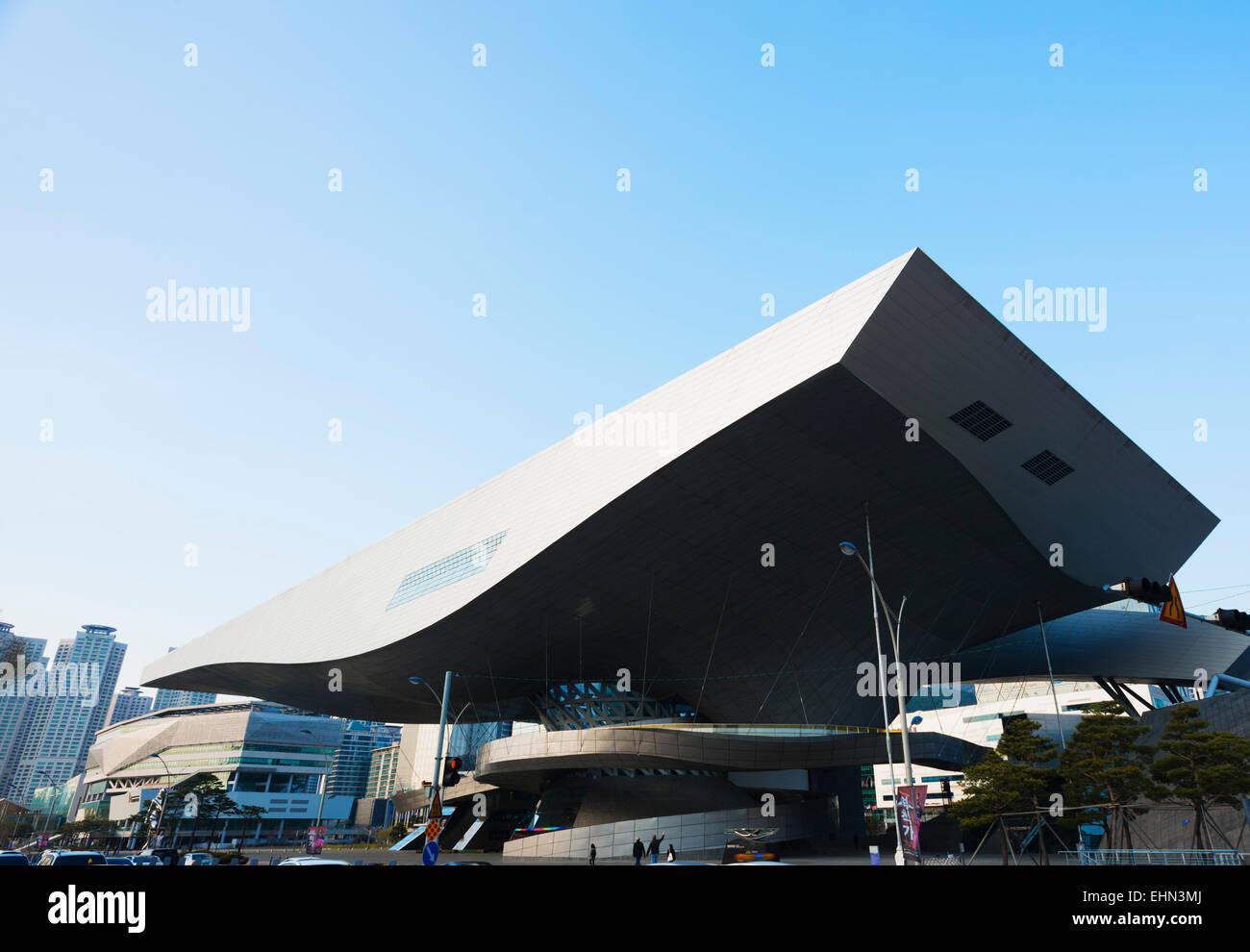 Asia, Republic of Korea, South Korea, Busan, Busan Cinema Center, cantilever roof - Stock Image