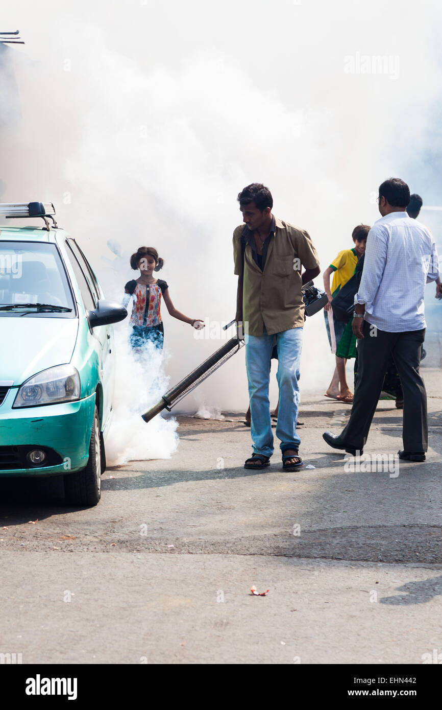 Fumigation in the streets of Bombay ( Mumbay ), India. - Stock Image
