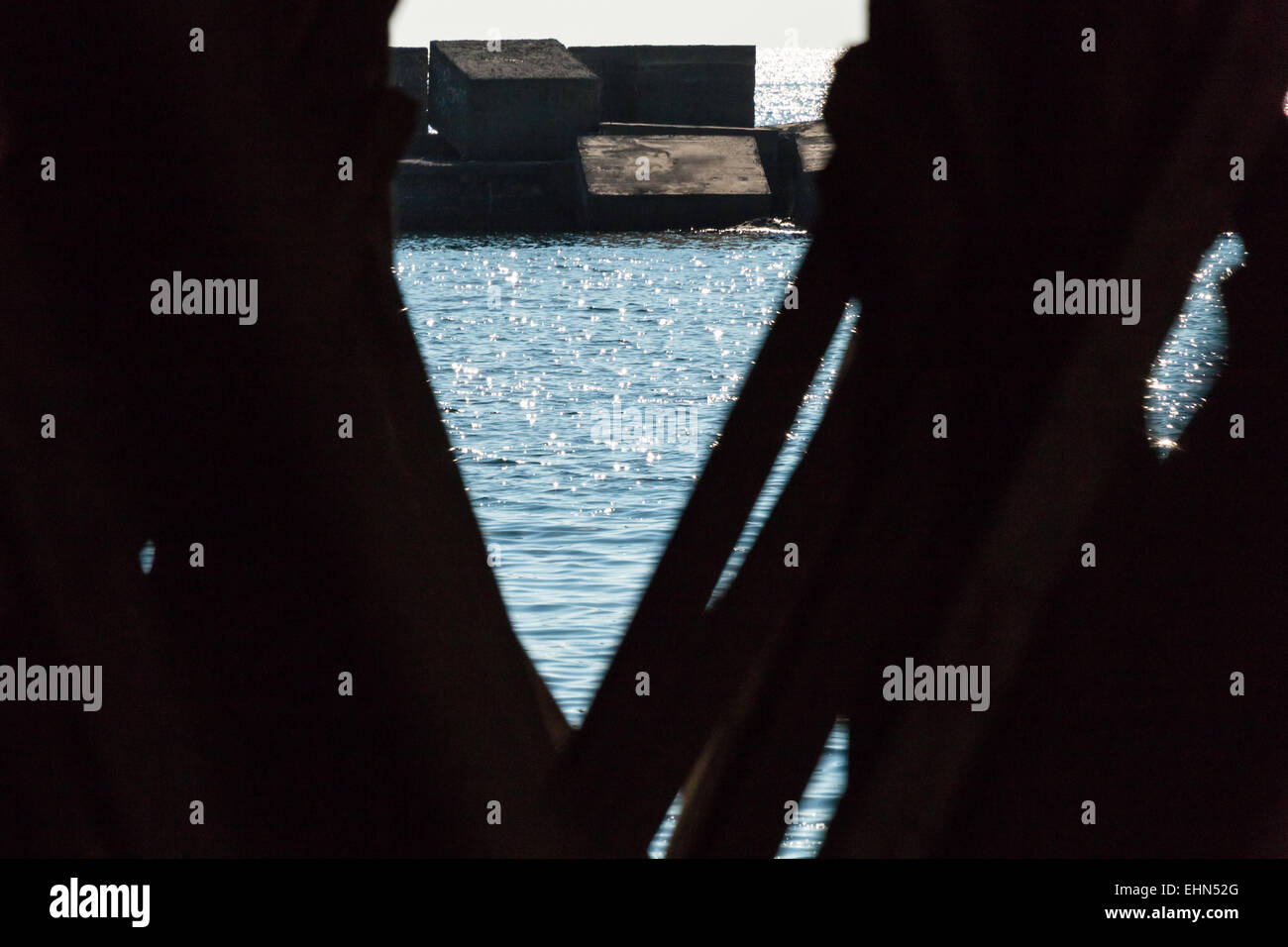 Sea frame made by woden palisade Sicily - Stock Image