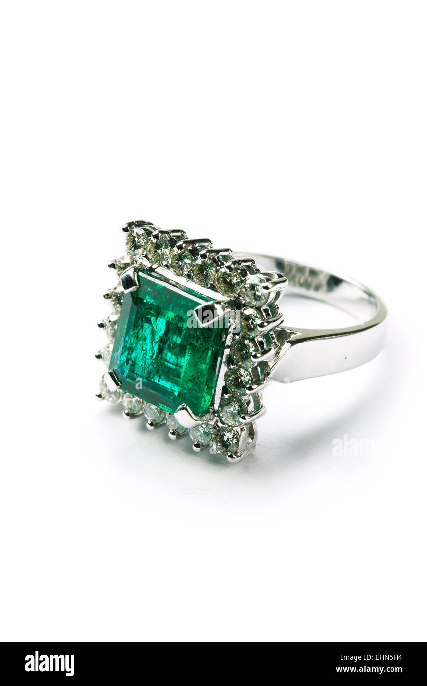 An emerald and diamond ring. - Stock Image
