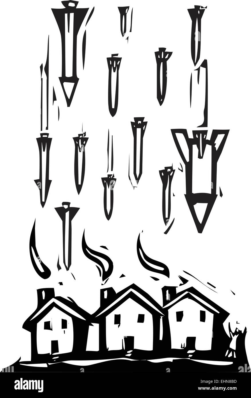 Woodcut style image of missiles falling on houses. Stock Vector