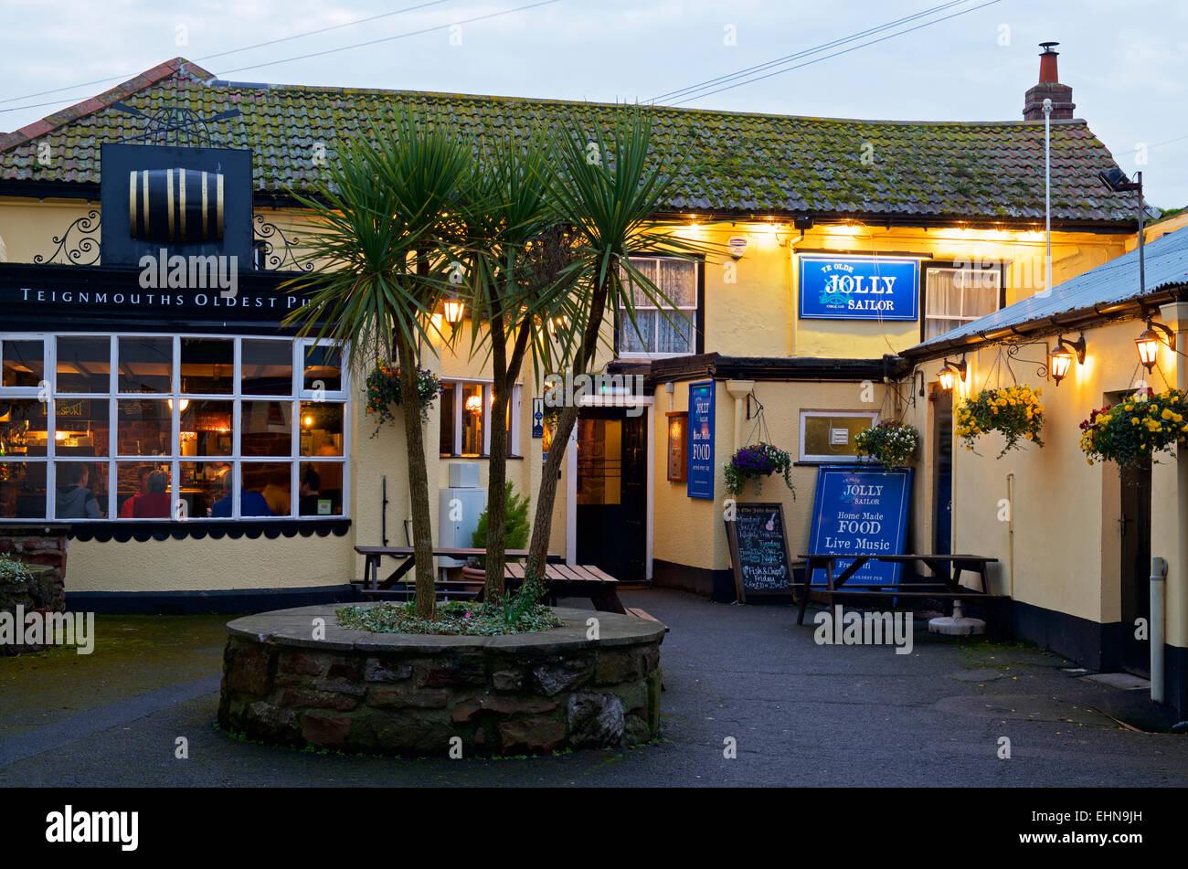 The Jolly Sailor pub in Teignmouth, Devon, England UK - Stock Image