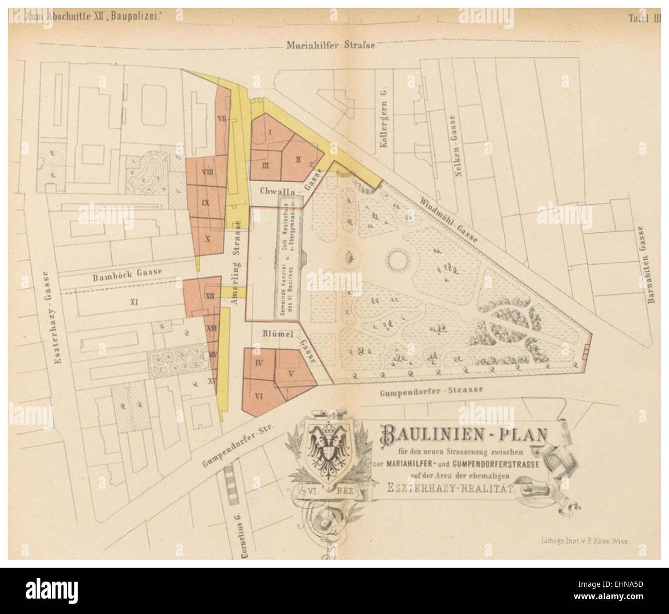 Berichte der Wiener Stadtverwaltung, 1873ff, div. Pläne und Ansichten 15 Stock Photo