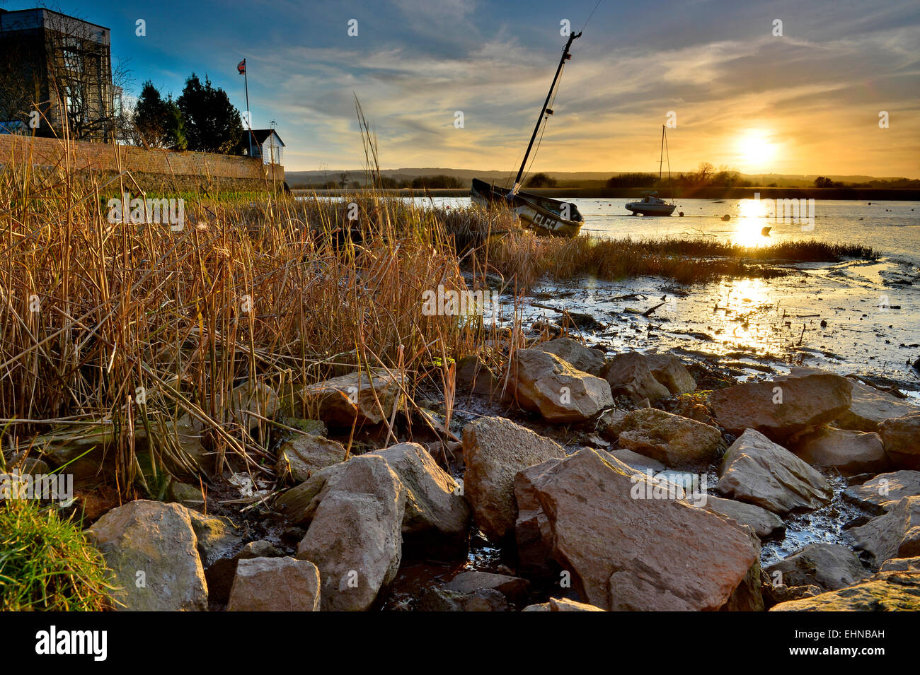 A view of the River Exe Estuary from Topsham - Devon - UK - Stock Image
