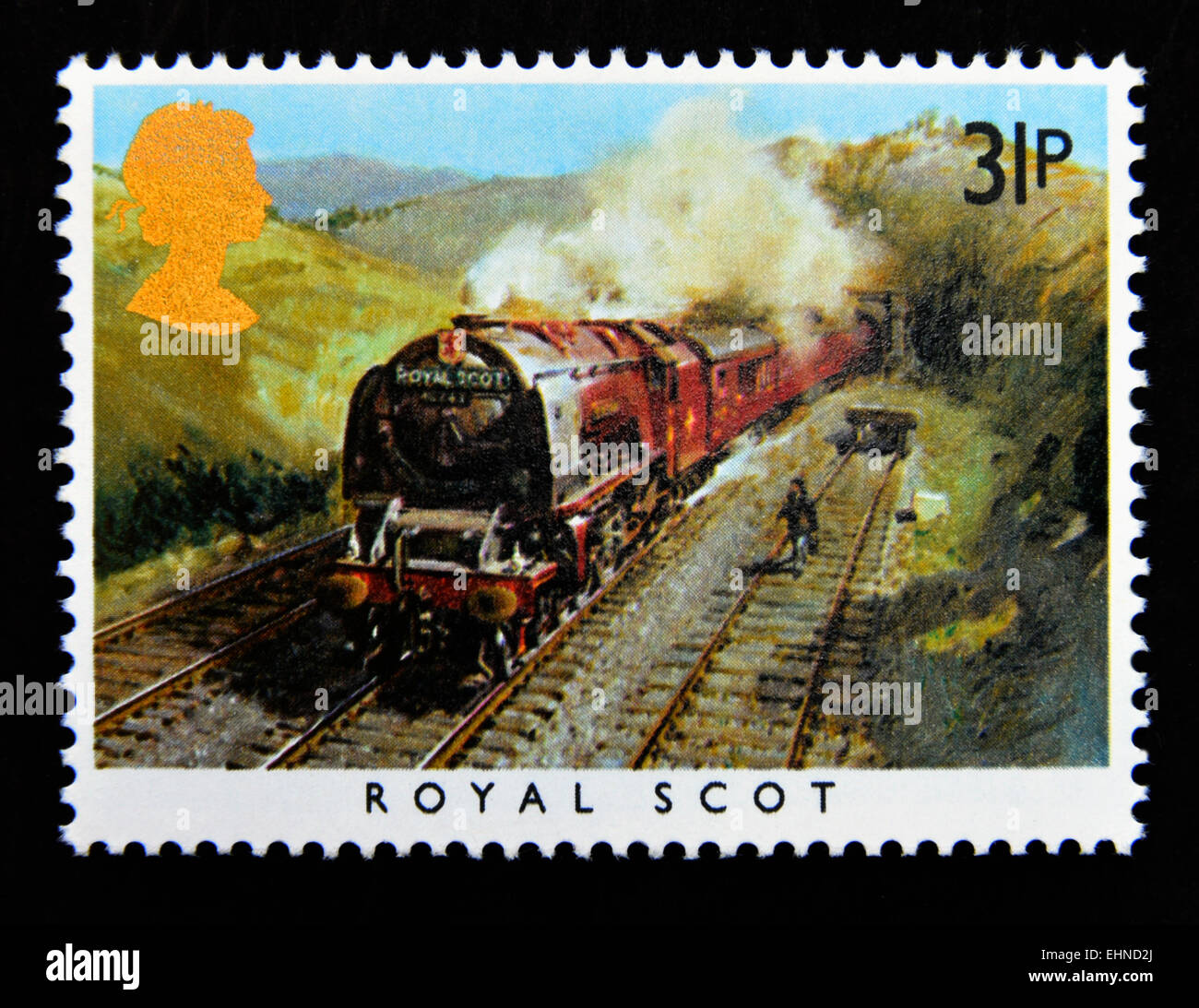 Postage stamp. Great Britain. Queen Elizabeth II. 1985. Famous Trains. 'Royal Scot'. London, Midland and - Stock Image