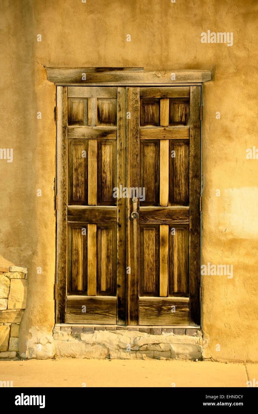 Wooden door, Santa Fe, New Mexico USA - Stock Image