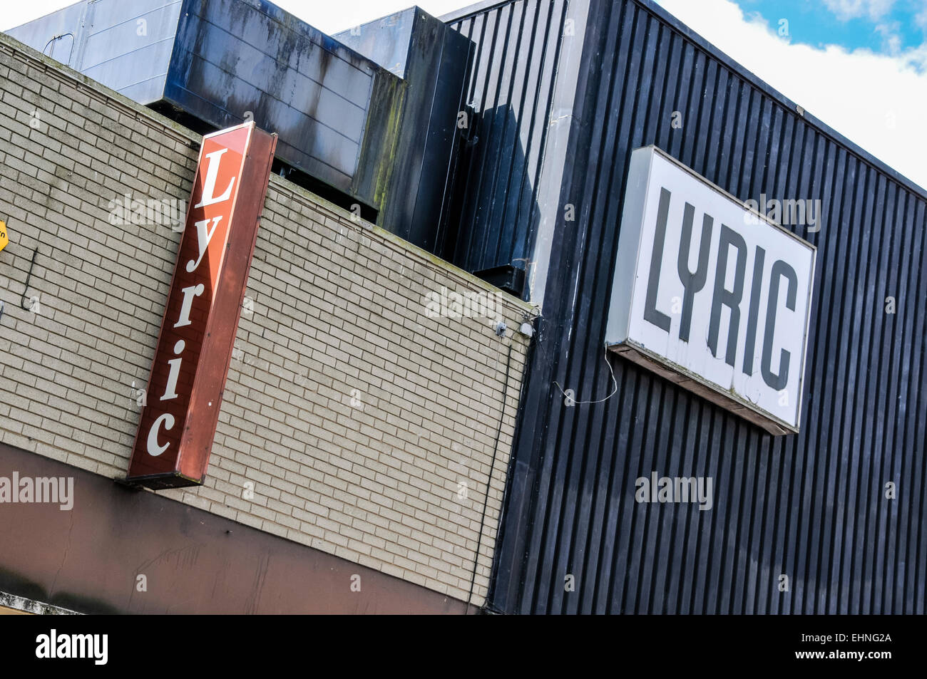 Signs on the old Lyric Theatre, prior to it being demolished and rebuilt - Stock Image