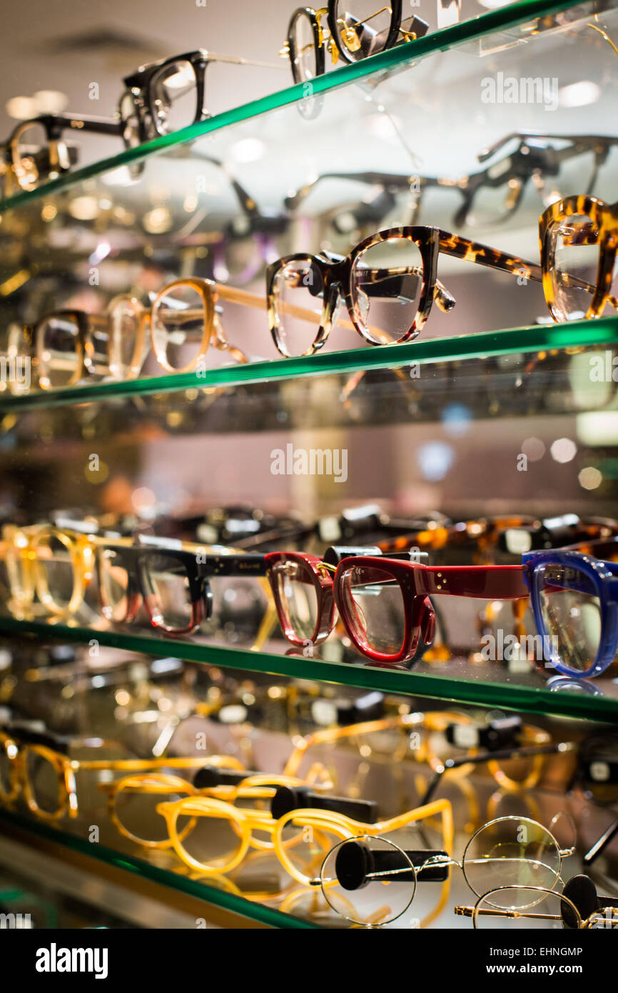 Eyeglasses sold in pharmacy. - Stock Image