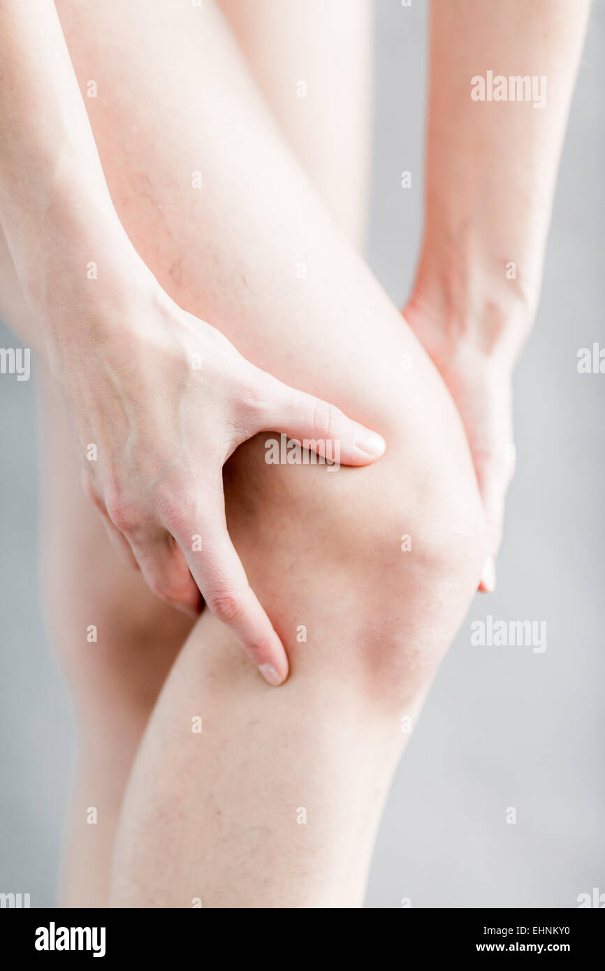 Woman knee pain. - Stock Image