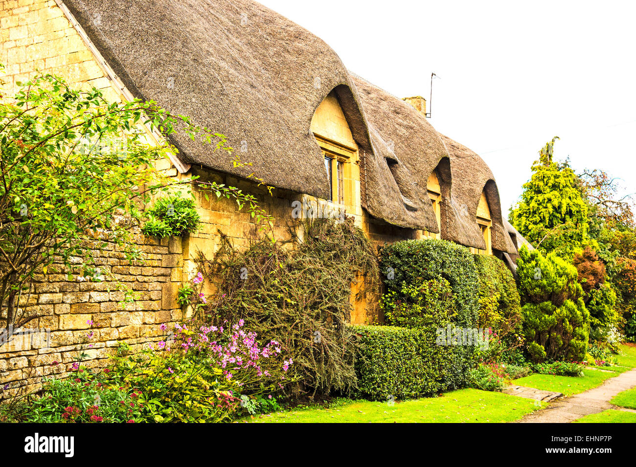 Thatched Cottage in the Cotswolds near Chipping Camden Stock Photo