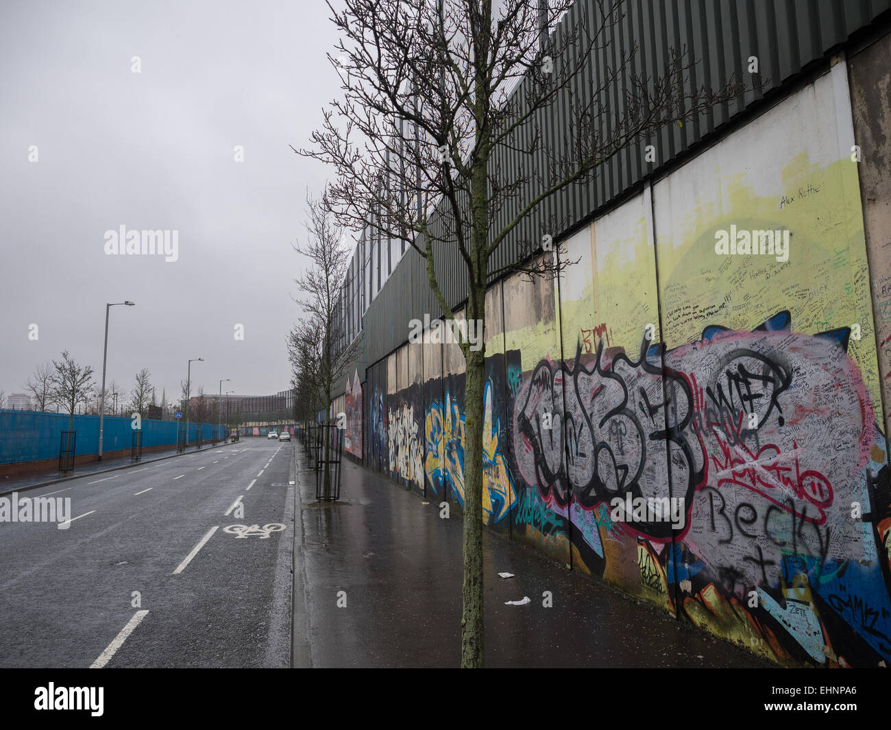 Peace Wall, Cupar Way, Belfast, County Antrim, United Kingdom Stock