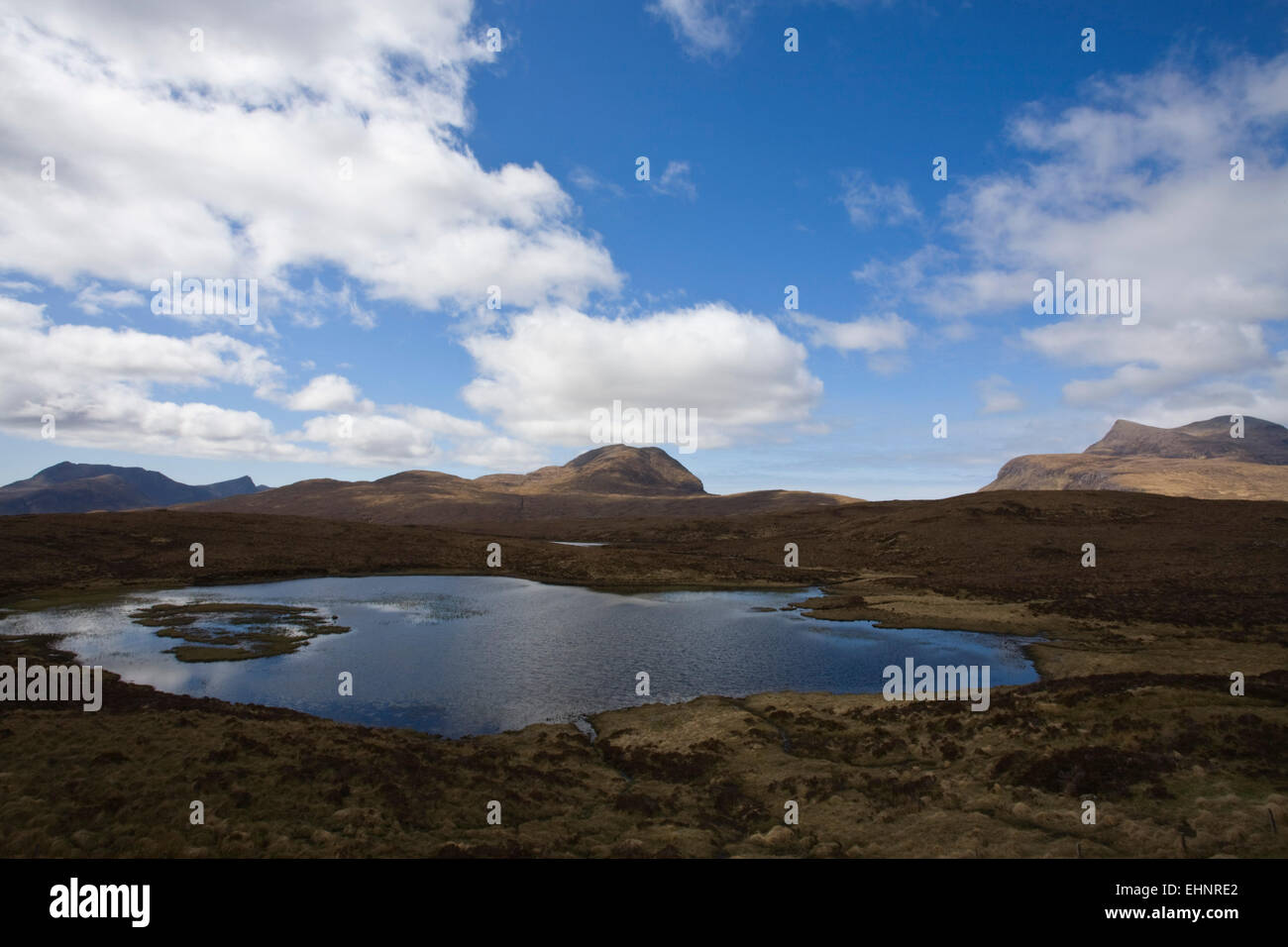 View of Cul Mor and Cul Beag from A835 (road to Knockan Crag),  Highlands, Scotland - Stock Image