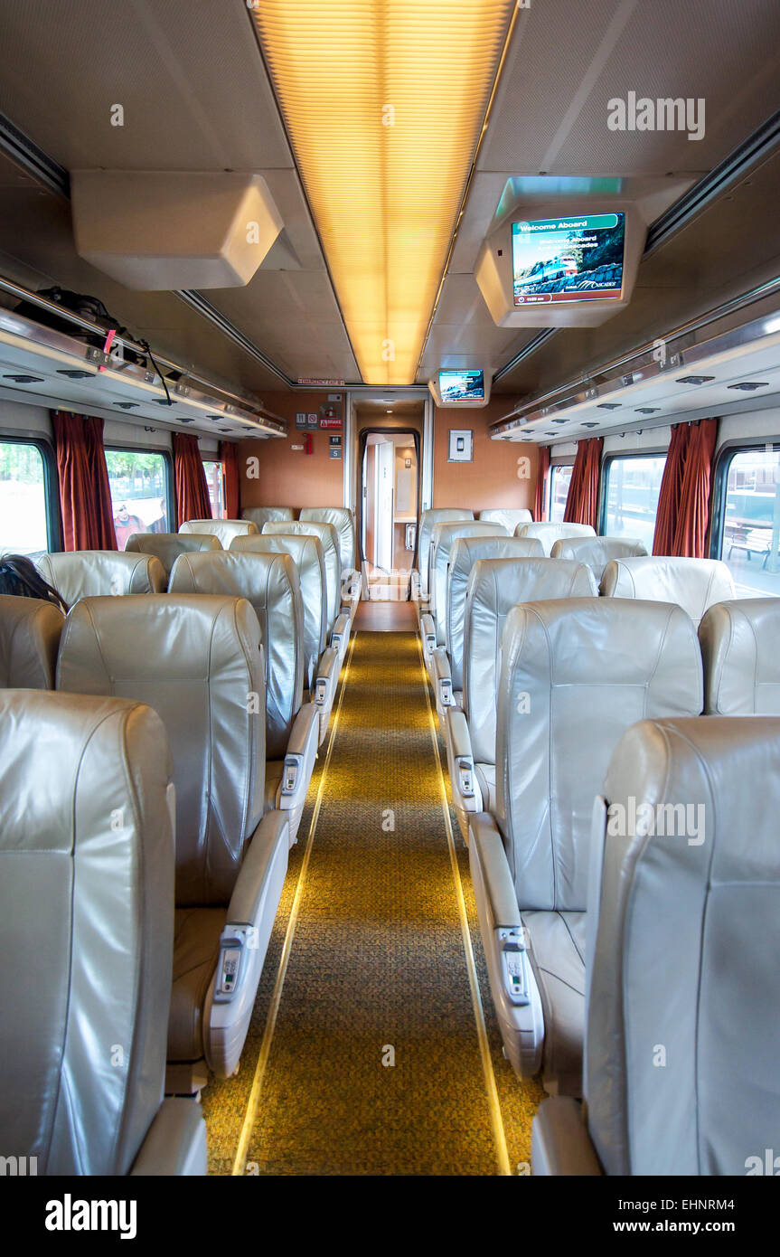 The Comfortable Interior Of The Amtrak Cascades Train Which Travels The  West Coast Of The USA From Oregon To Washington State.