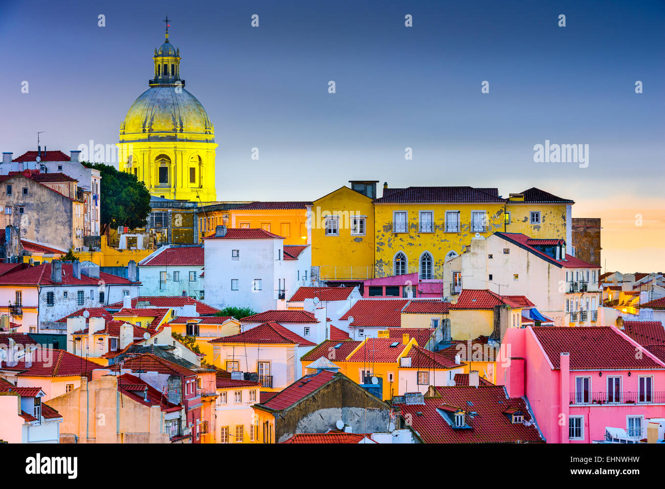 Lisbon, Portugal skyline at Alfama, the oldest district of the city with the National Pantheon Dome. - Stock Image