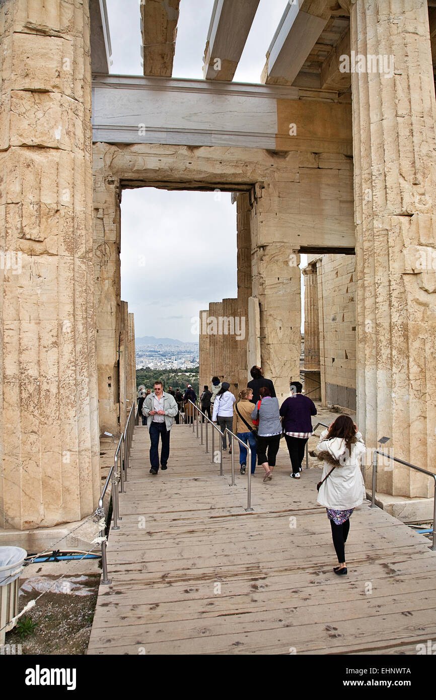 The Propylaea is the entrance structure to the Parthenon and is almost as famous in its own right. - Stock Image
