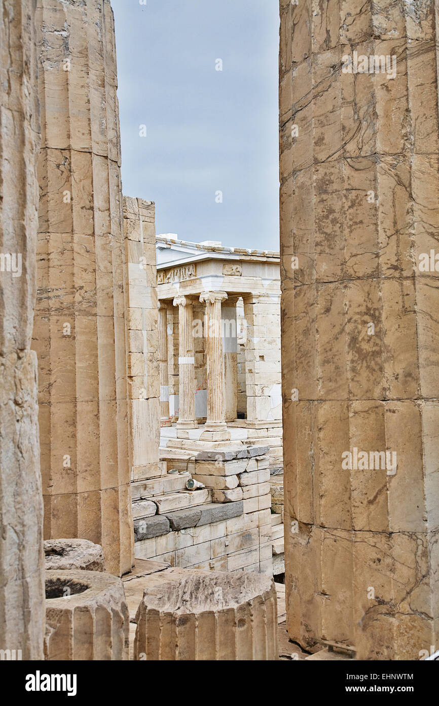 The Temple of Athena Nike is built above the Propylaea at the entrance to the Acropolis. - Stock Image