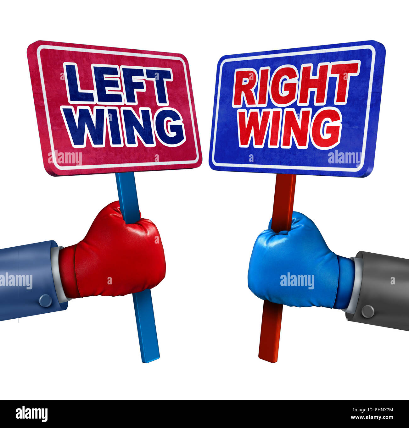 Left and right politics concept as two election candidates representing conservative and liberal values as democrat - Stock Image