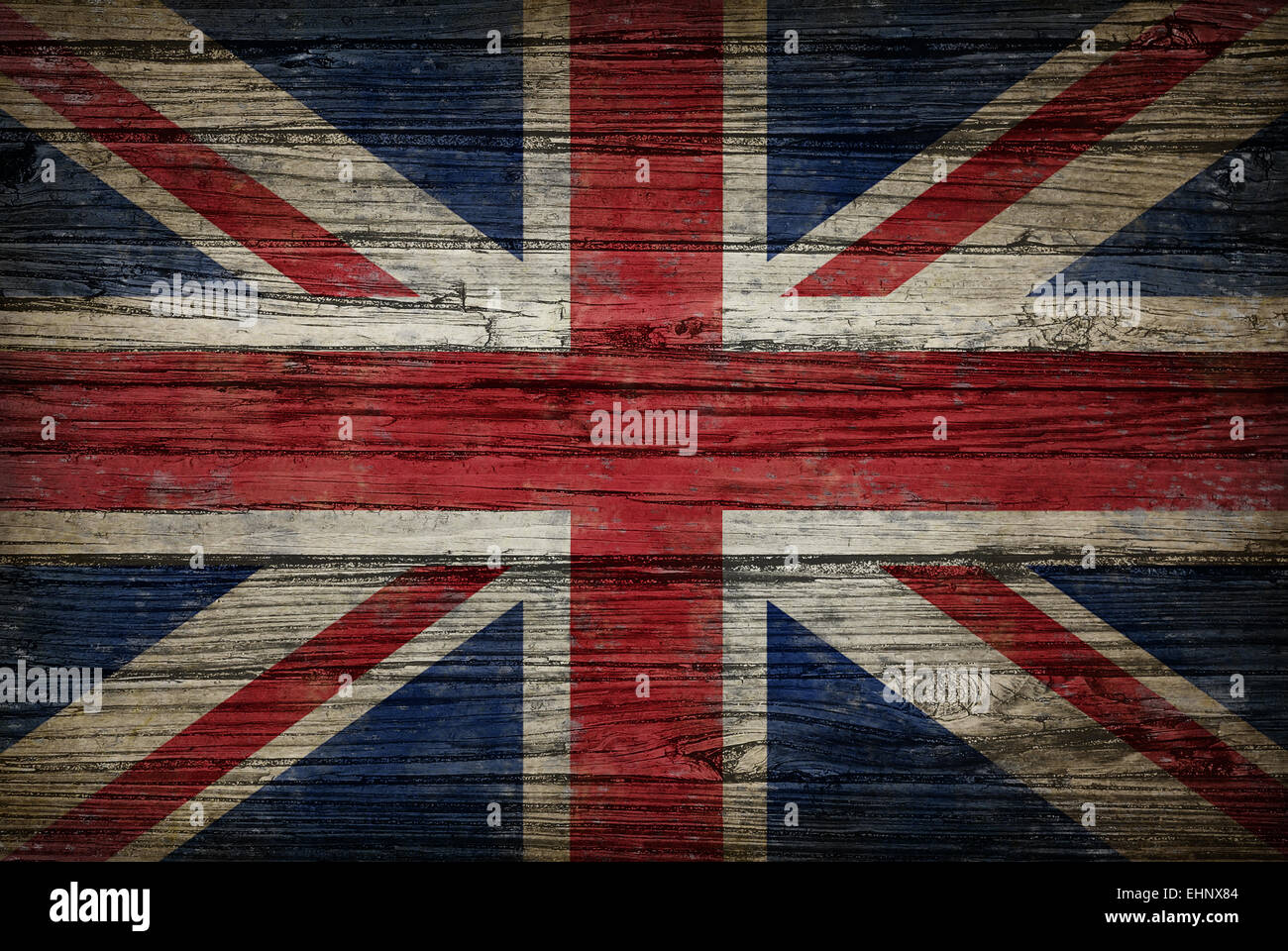 Great Britain flag painted on old weathered,wood as an old vintage British and United Kingdom concept of a symbol - Stock Image