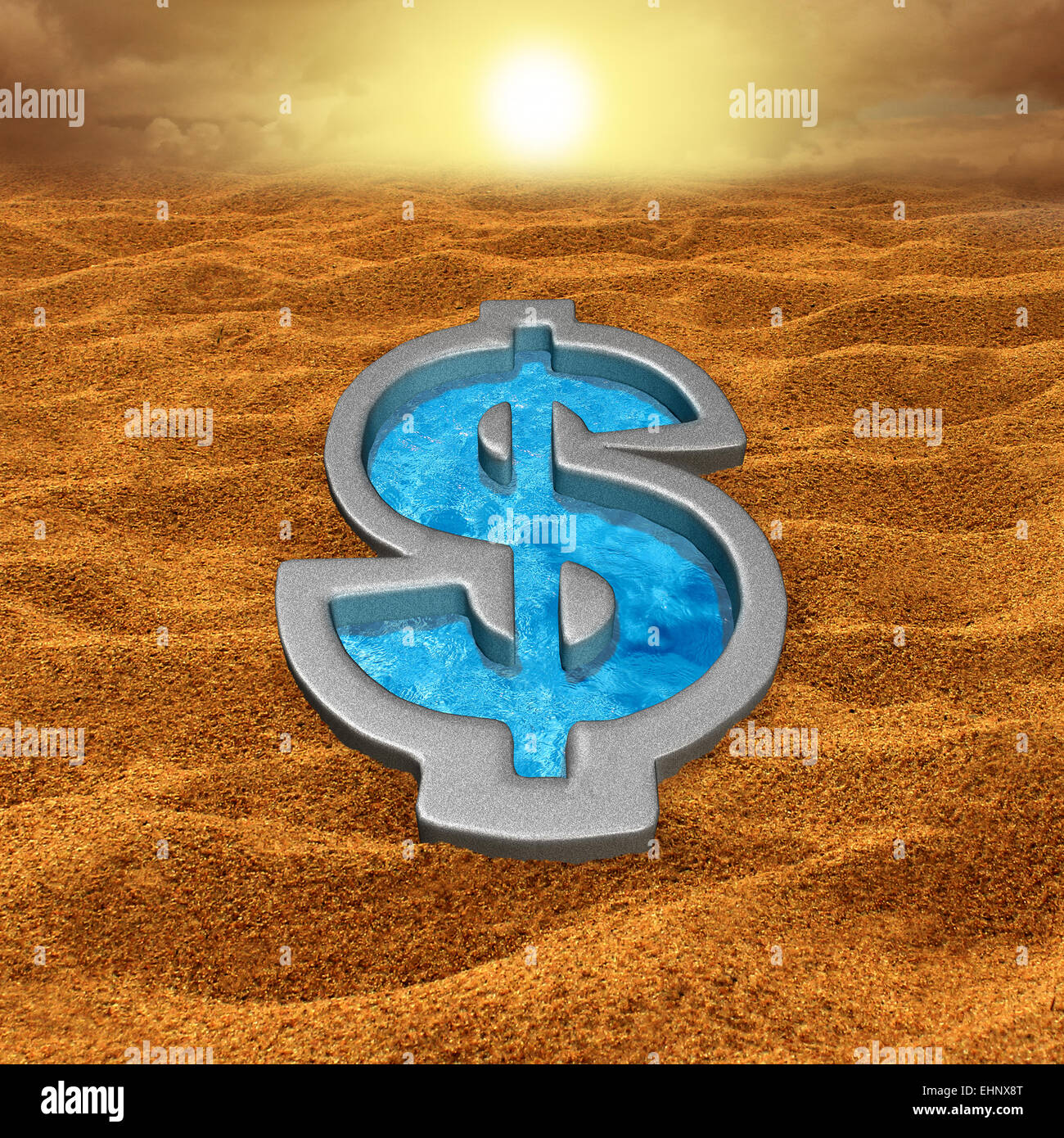 Financial relief and debt help concept as a dollar sign shaped swimming pool with fresh cool water in a hot dry Stock Photo