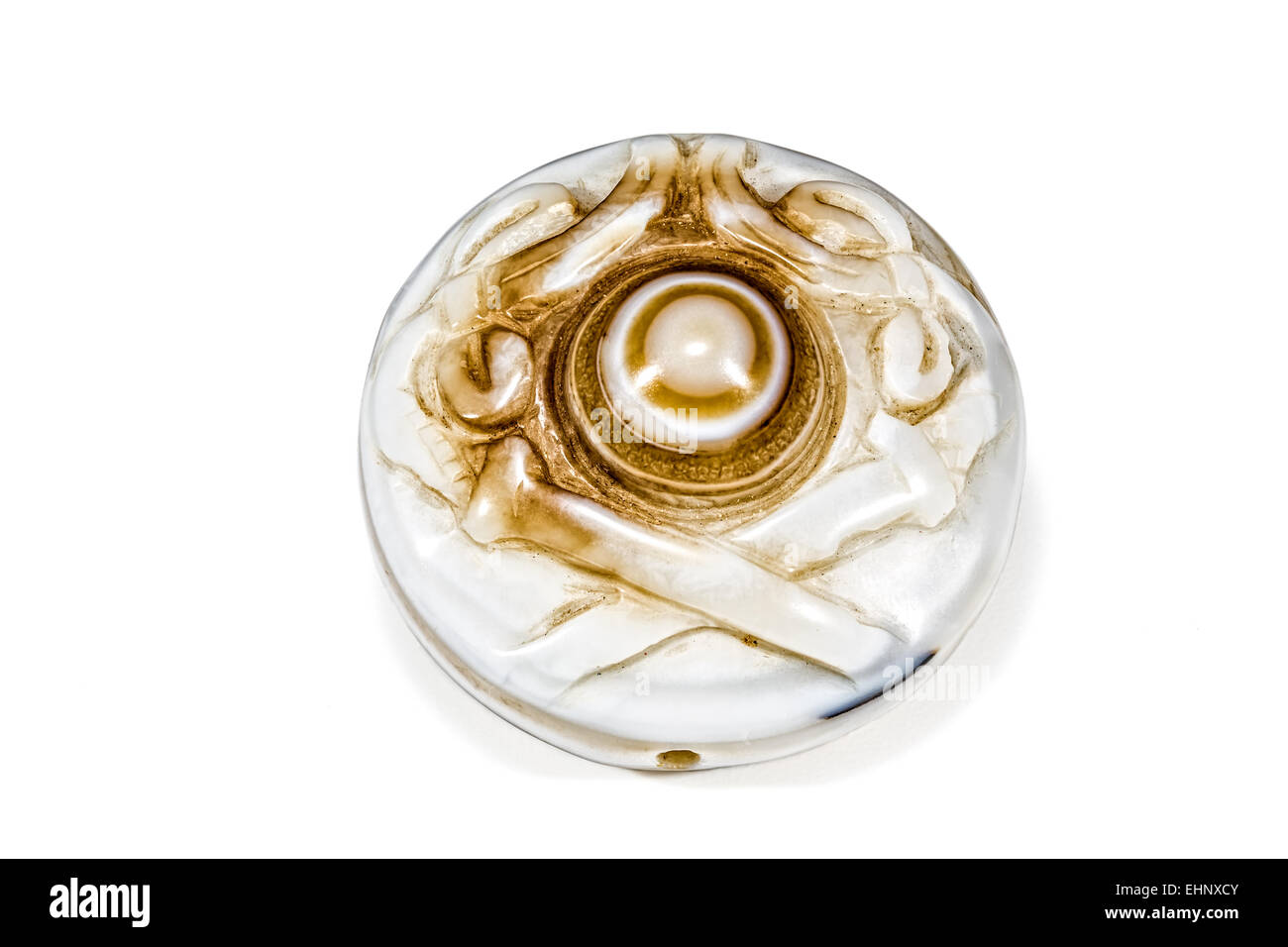 Banded Agate (Chalcedony- the compact micro-crystalline variety of quartz) stylised oriental carving reverse Crystal - Stock Image