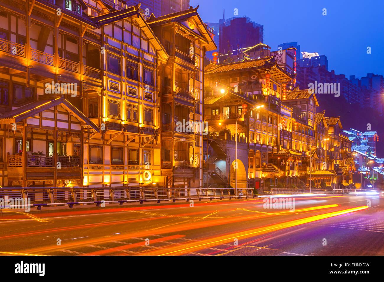 Chongqing, China cityscape at Hongyadong hillside district. - Stock Image