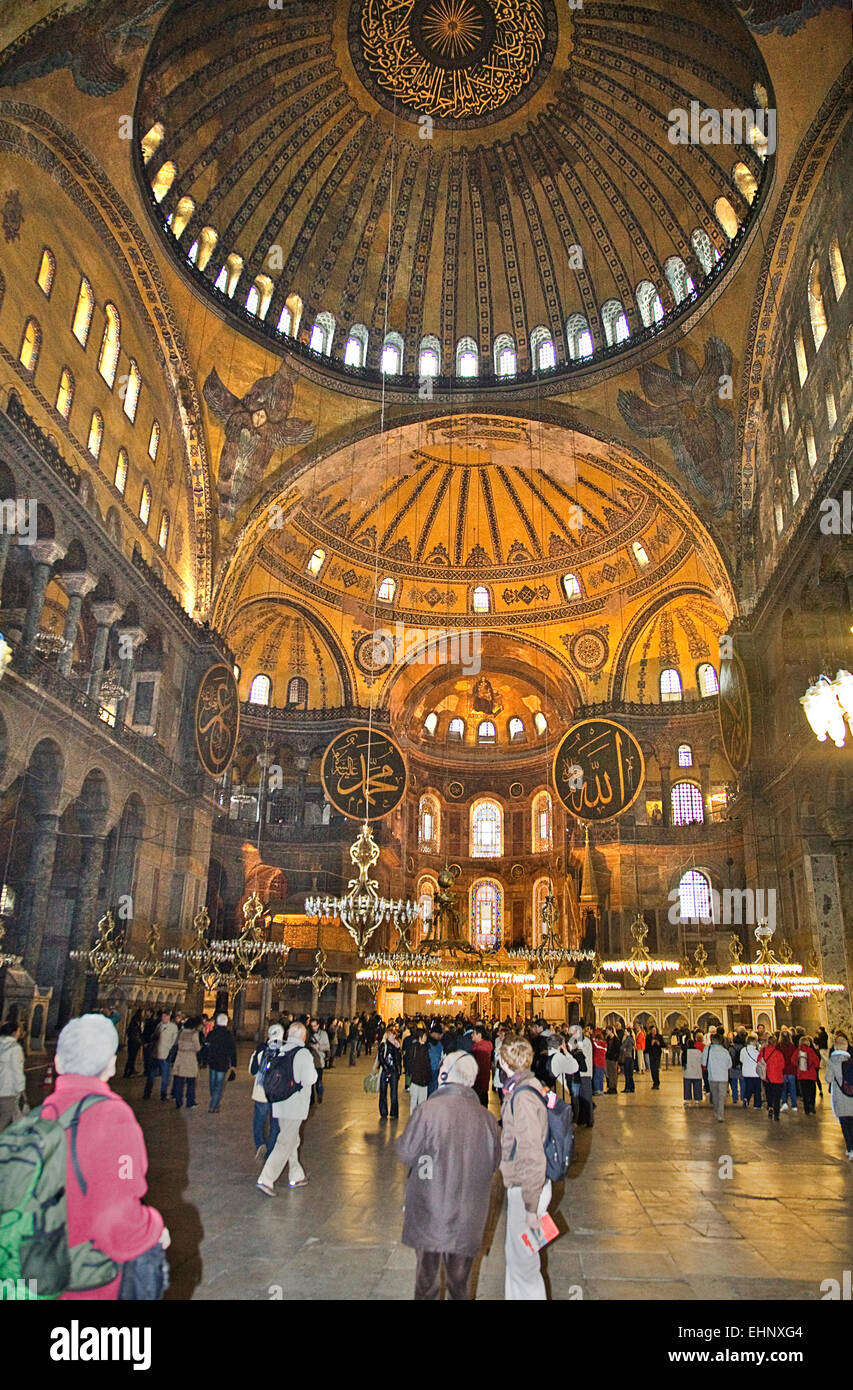 The interior of the Hagia Sohia in Istanbul is a study in high vaulted ceilings and  open space. - Stock Image