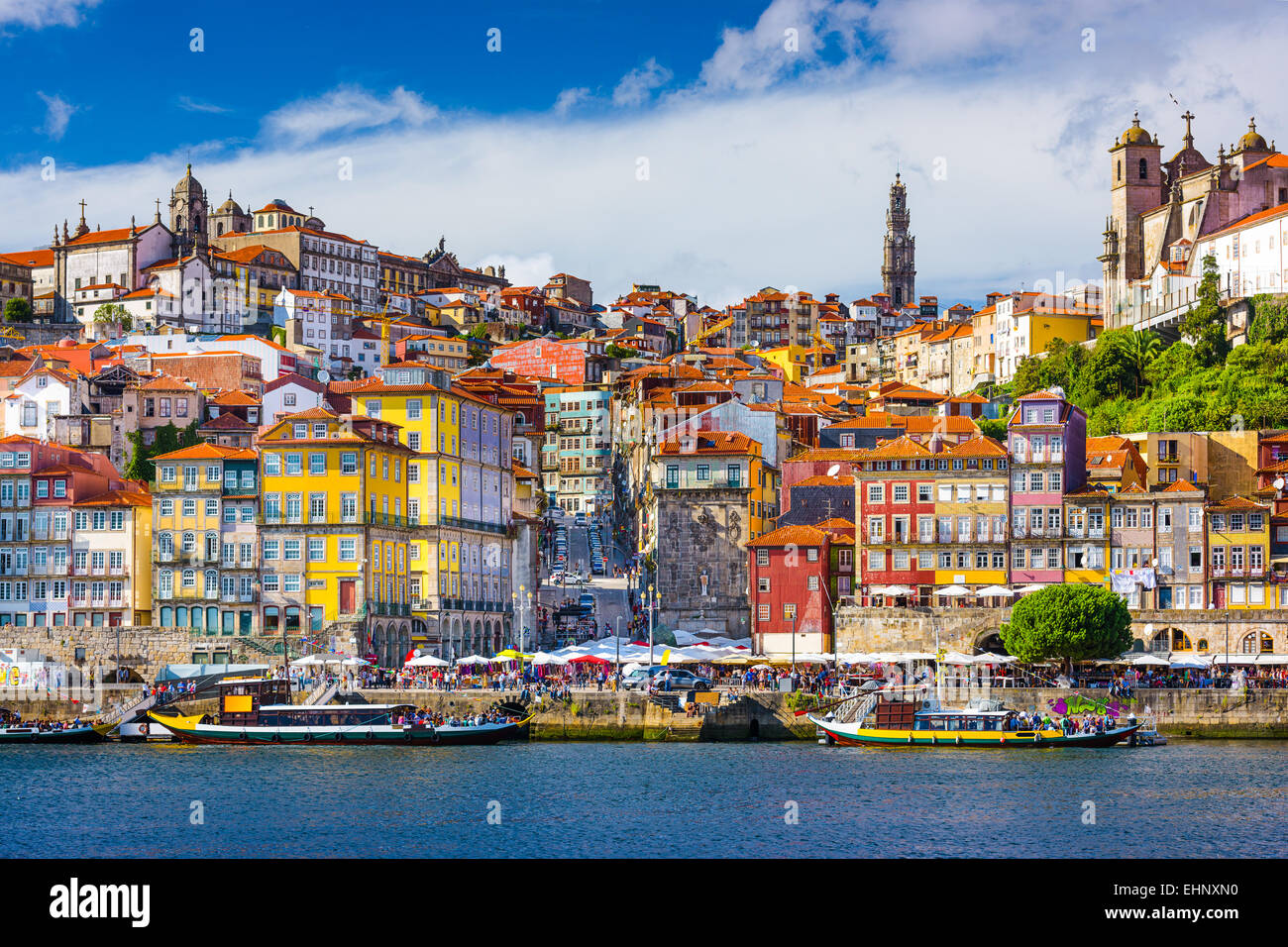 Porto, Portugal old town skyline from across the Douro River. - Stock Image