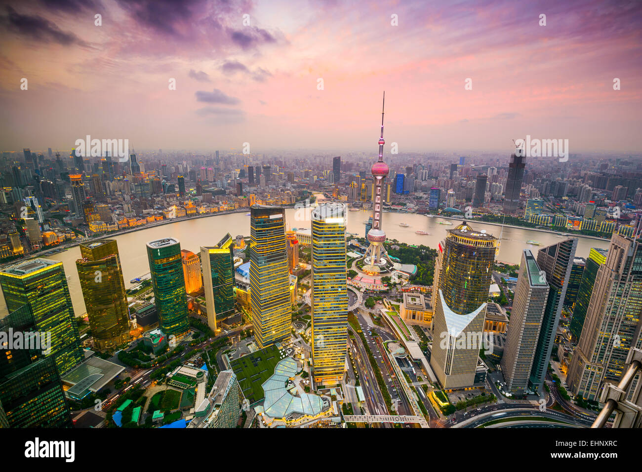 Shanghai, China cityscape overlooking the Financial District and Huangpu River. - Stock Image