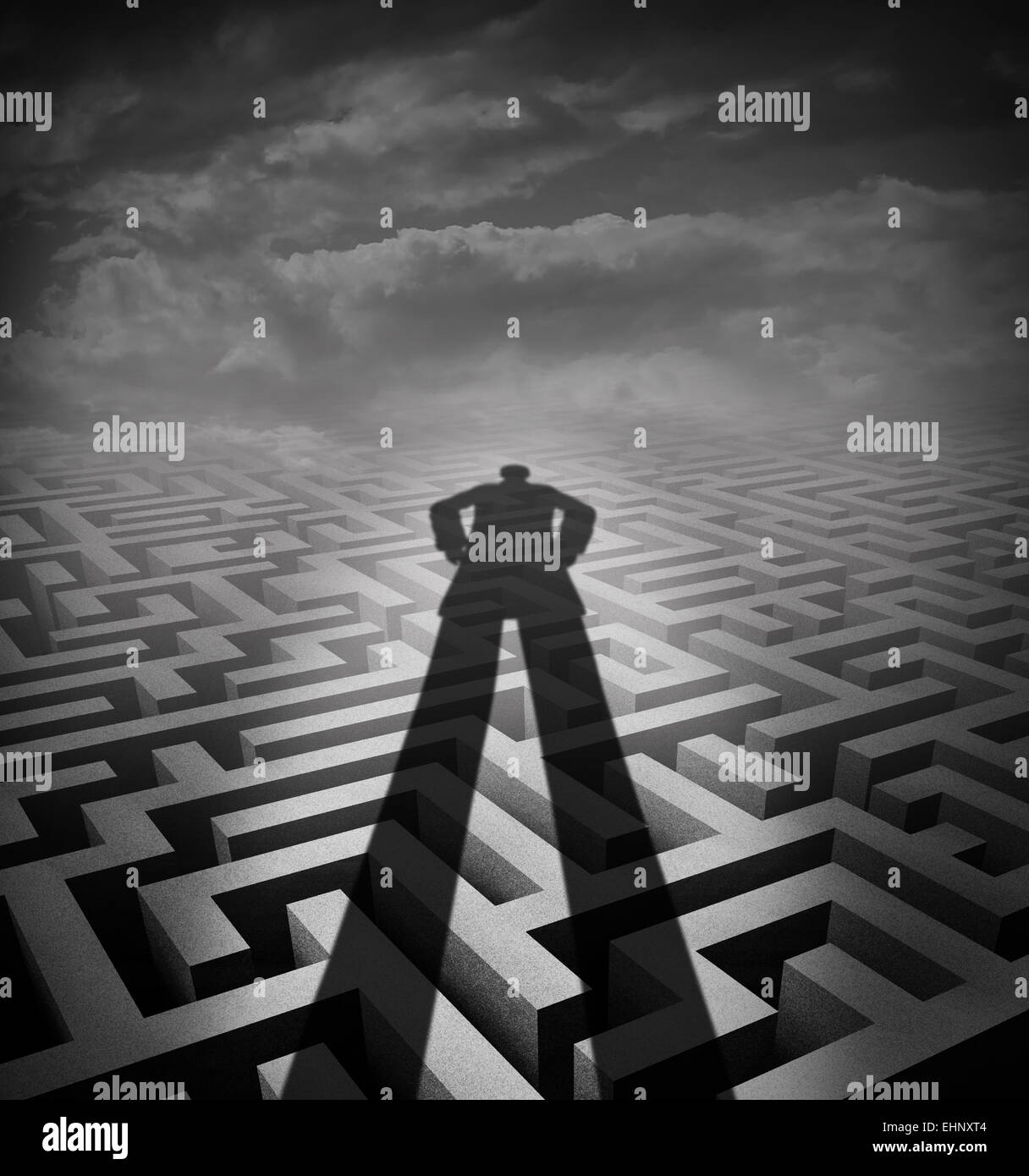 Management consulting and new consultant solution concept as a shadow of a person or advisor on a complicated maze - Stock Image