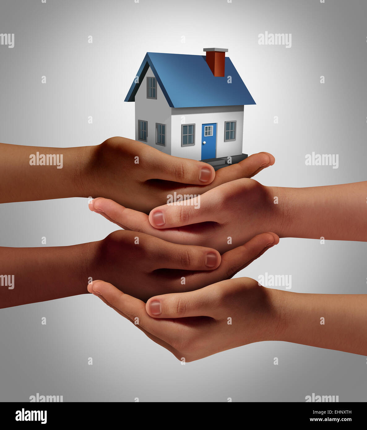 Community housing concept and neighbor support or neighborhood watch symbol as a connected group of diverse hands - Stock Image