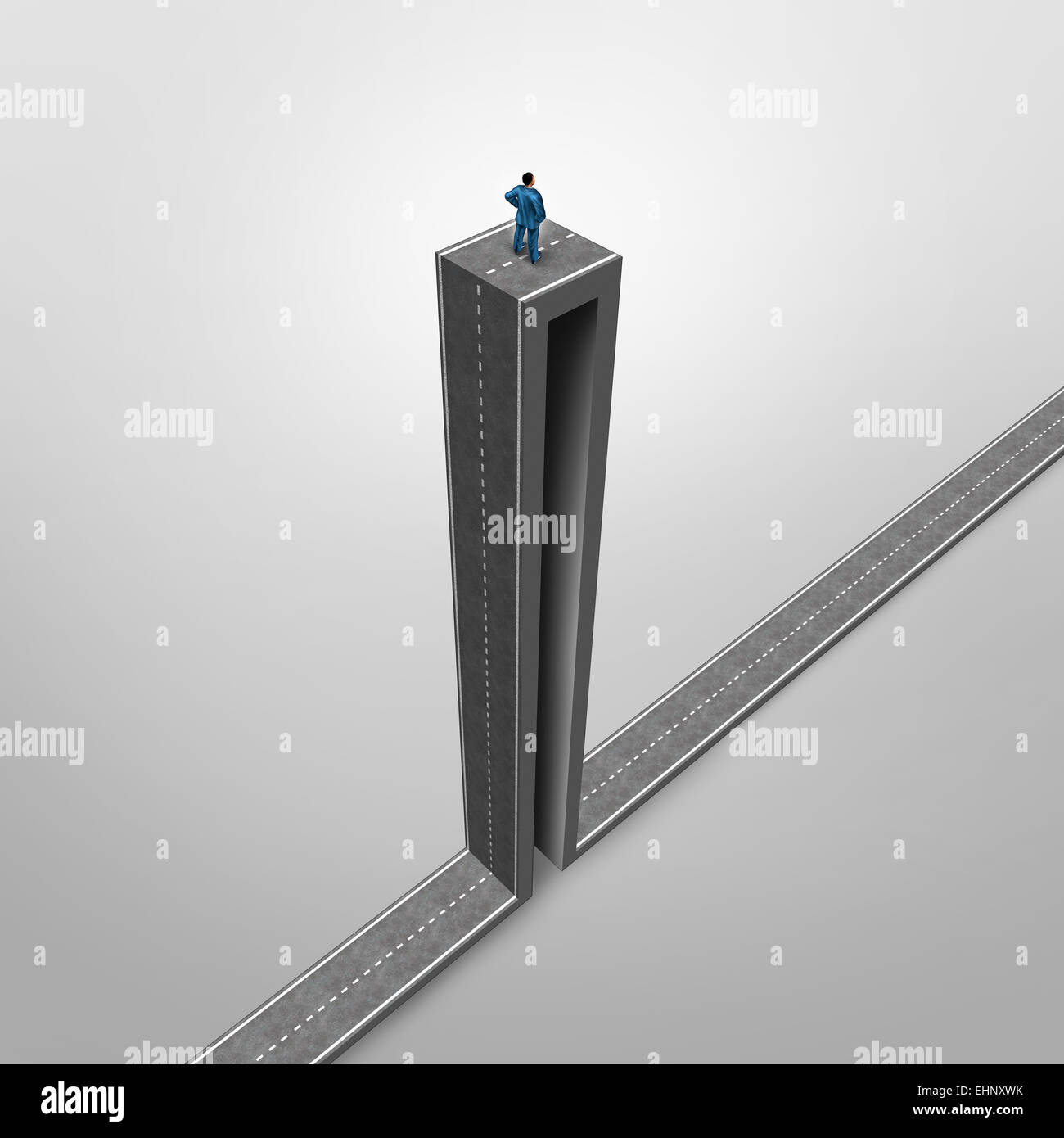 Career opportunity problem business concept as a stranded businessman on a road with an extreme high angle as a - Stock Image