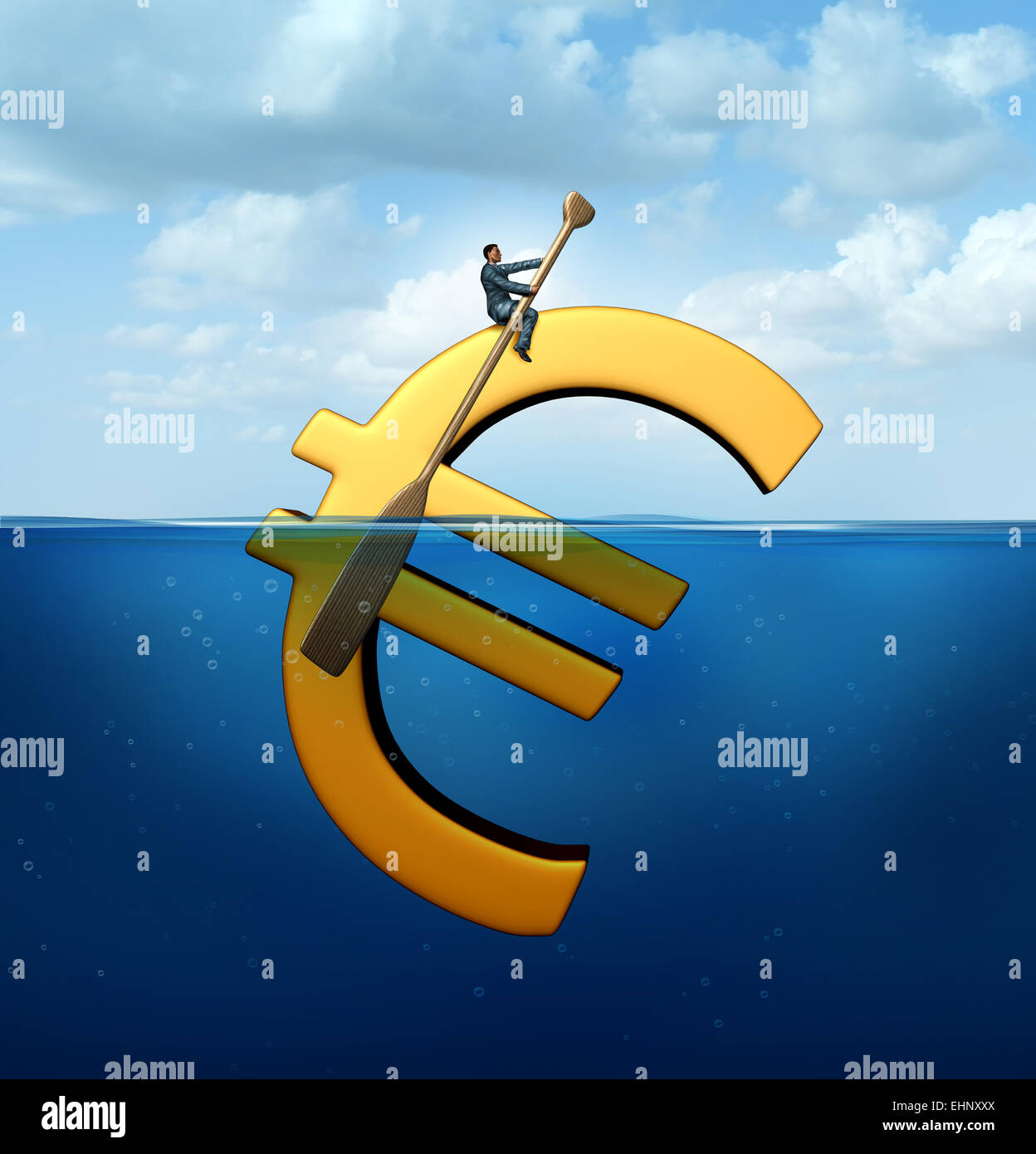Euro currency guidance financial concept as a european money icon floating in the water with a businessman using - Stock Image