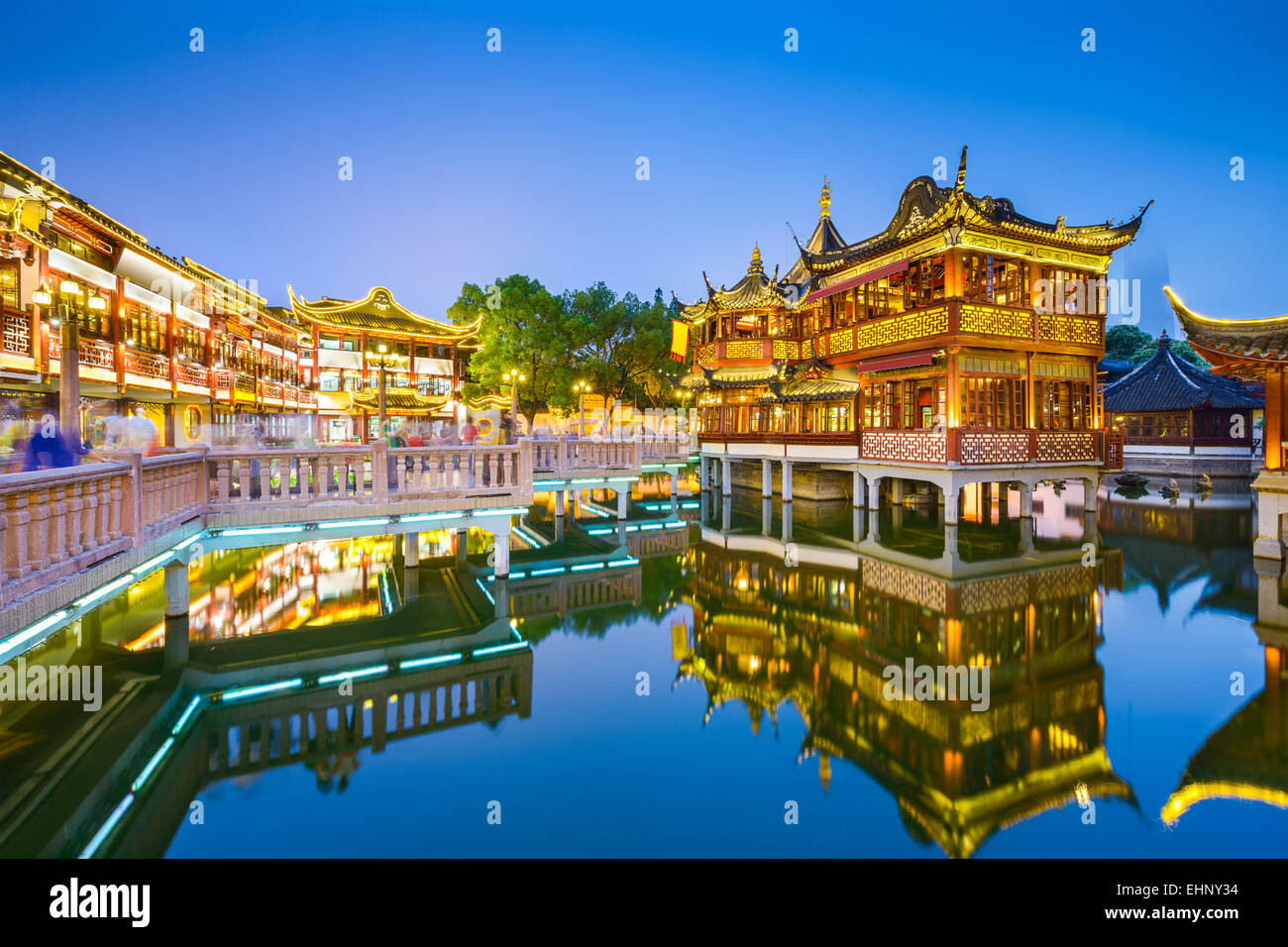 Shanghai, China view at the traditional Yuyuan Garden District. - Stock Image