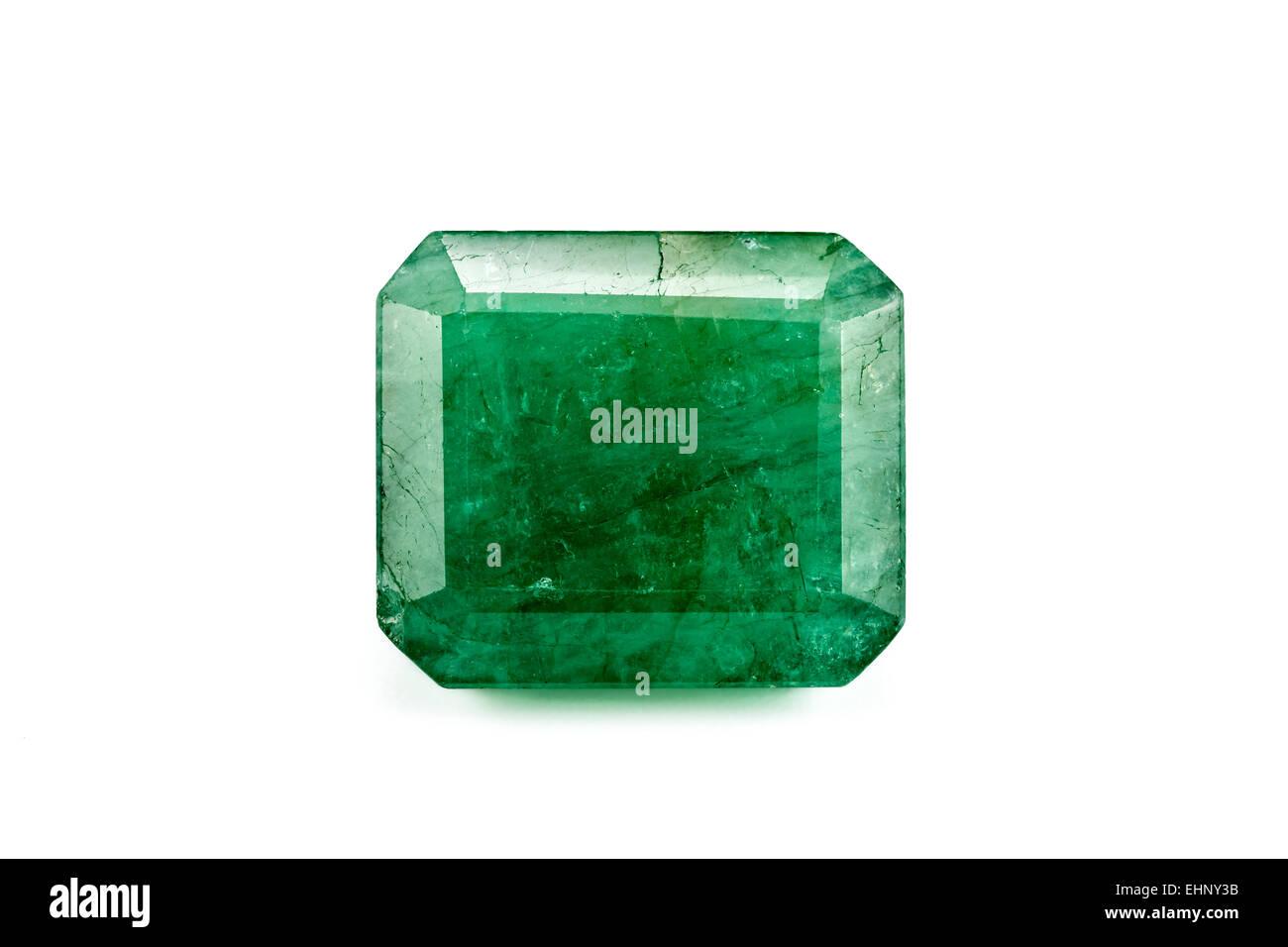 Emerald (Beryl) step-cut Weight: 35 carats Crystal structure: hexagonal Composition: Beryllium aluminium silicate - Stock Image