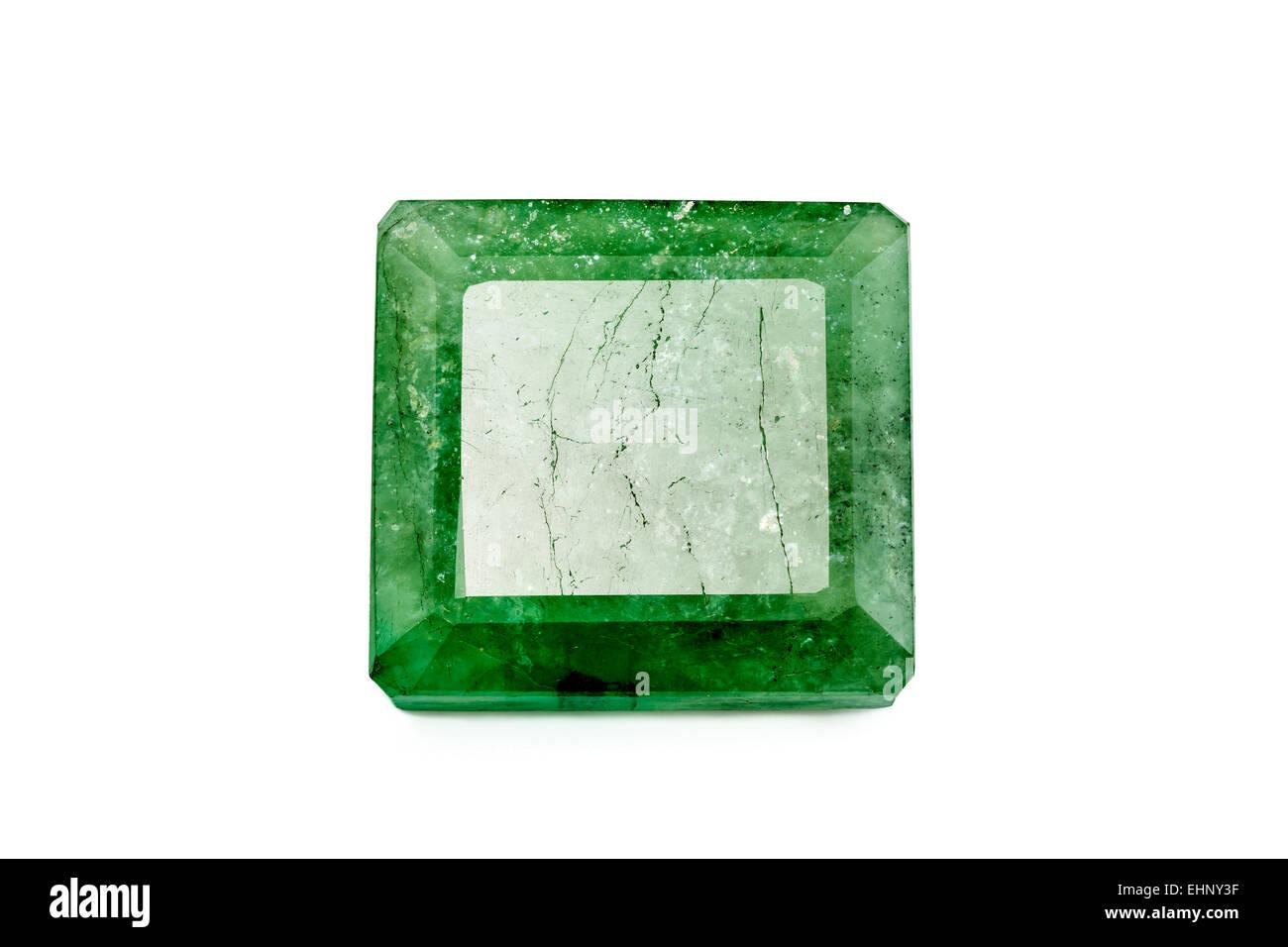 Emerald (Beryl) step-cut Weight: unknown Crystal structure: hexagonal Composition: Beryllium aluminium silicate - Stock Image