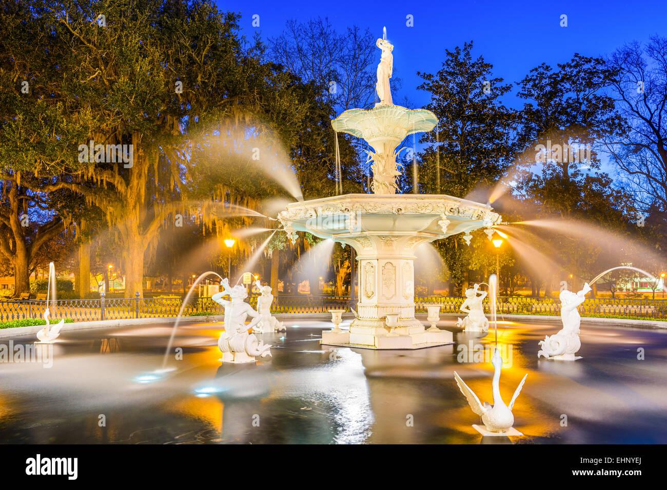 Savannah, Georgia, USA at Forsyth Park fountain. - Stock Image