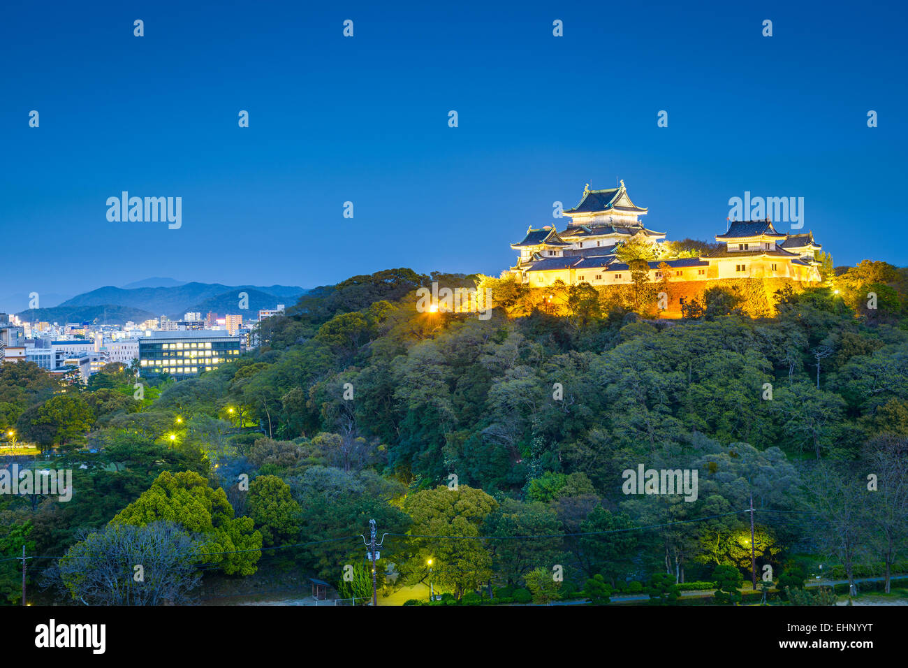 Wakayama, Japan Castle and downtown cityscape. - Stock Image