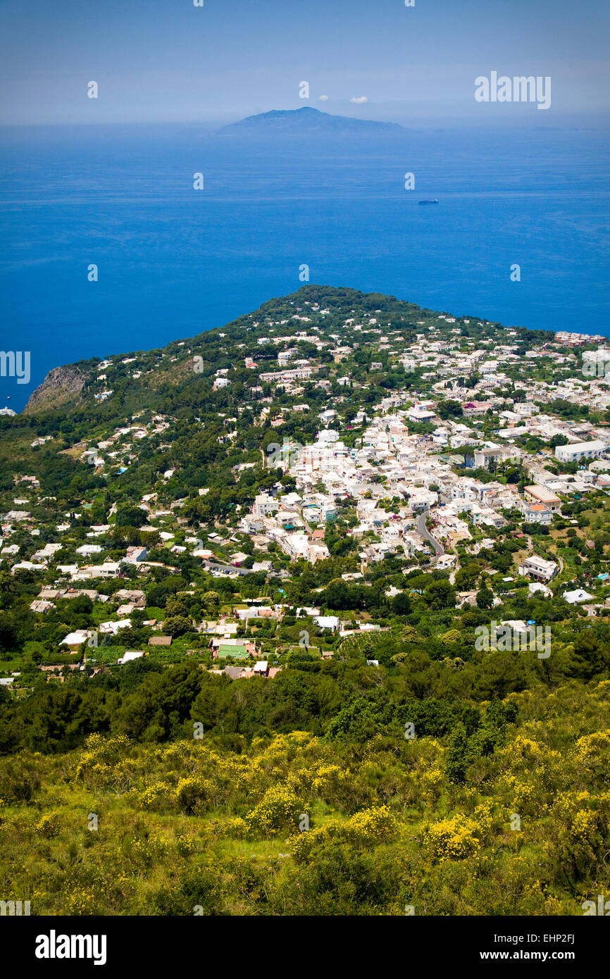 View from the top of Monte Solaro, Capri, with the Bay of Naples and Vesuvius behind, Italy Stock Photo