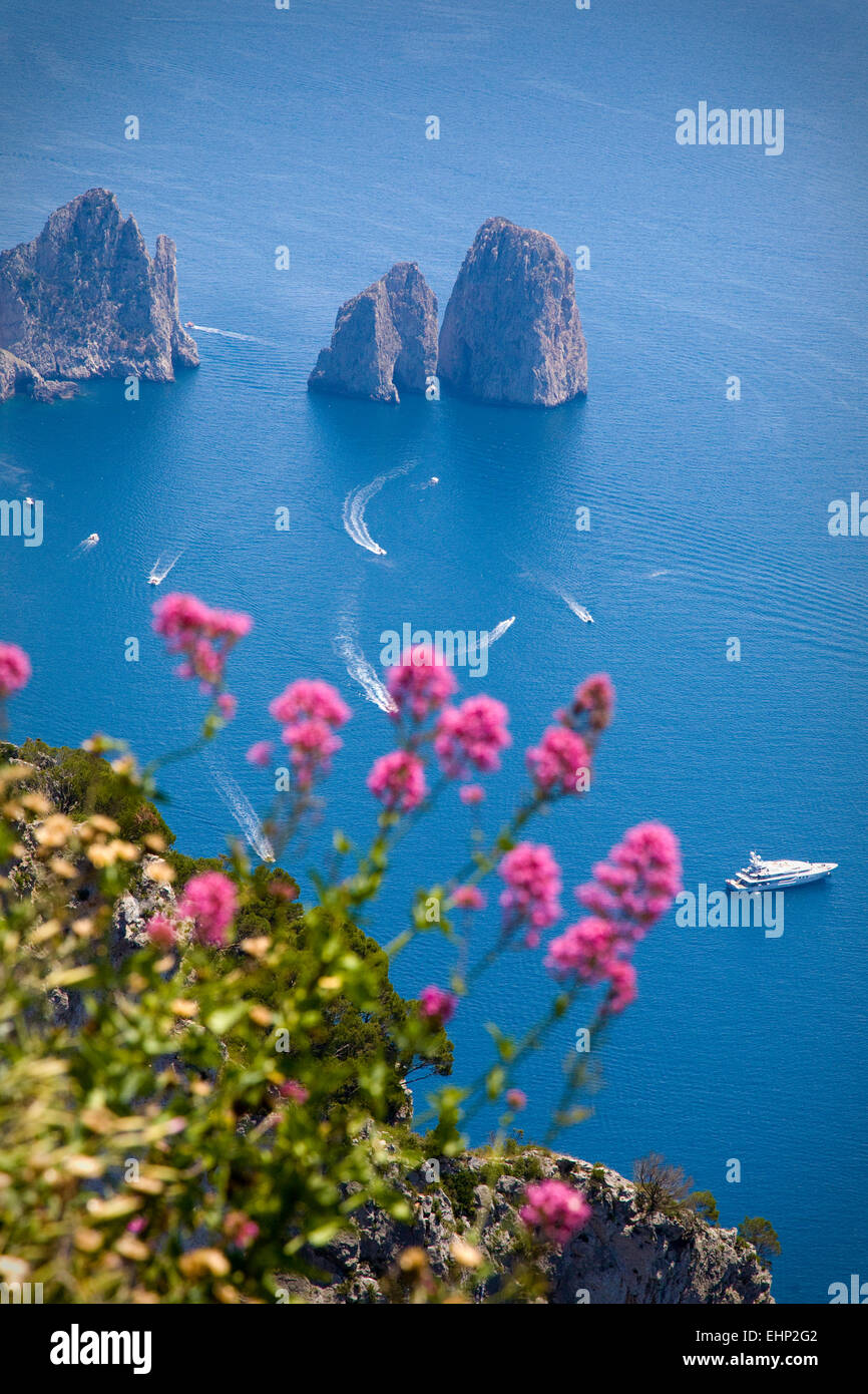 Stunning views of the Faraglioni Rocks from the top of Monte Solaro, Capri, Bay of Naples, Italy - Stock Image