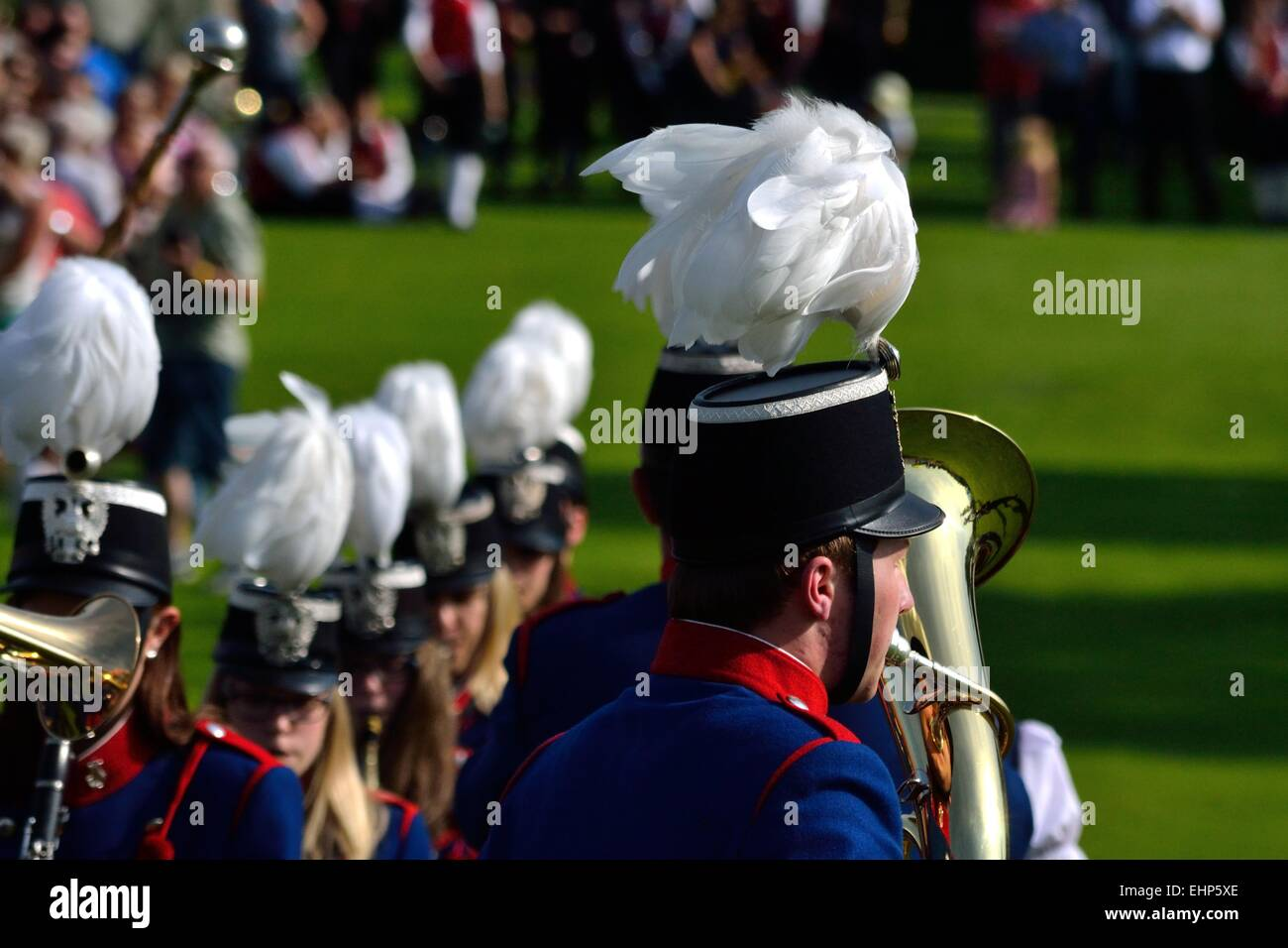 Musicians with special headdress - Stock Image