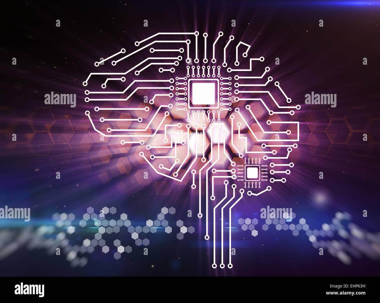 Computer circuit board in the form of the human brain - Stock Image