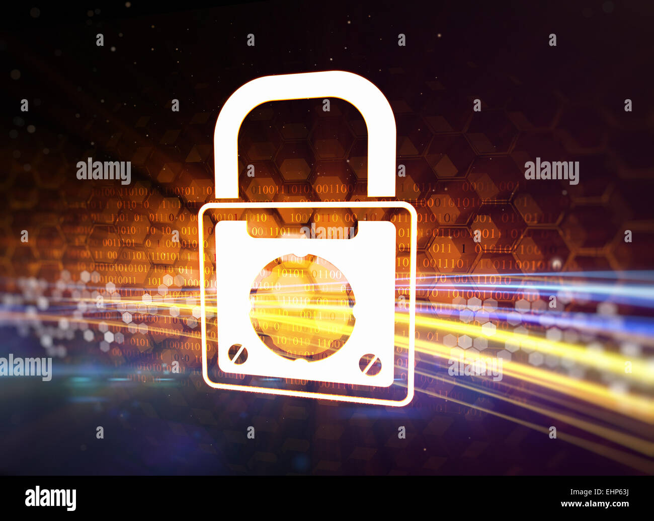 Padlock as a symbol of information safety Stock Photo